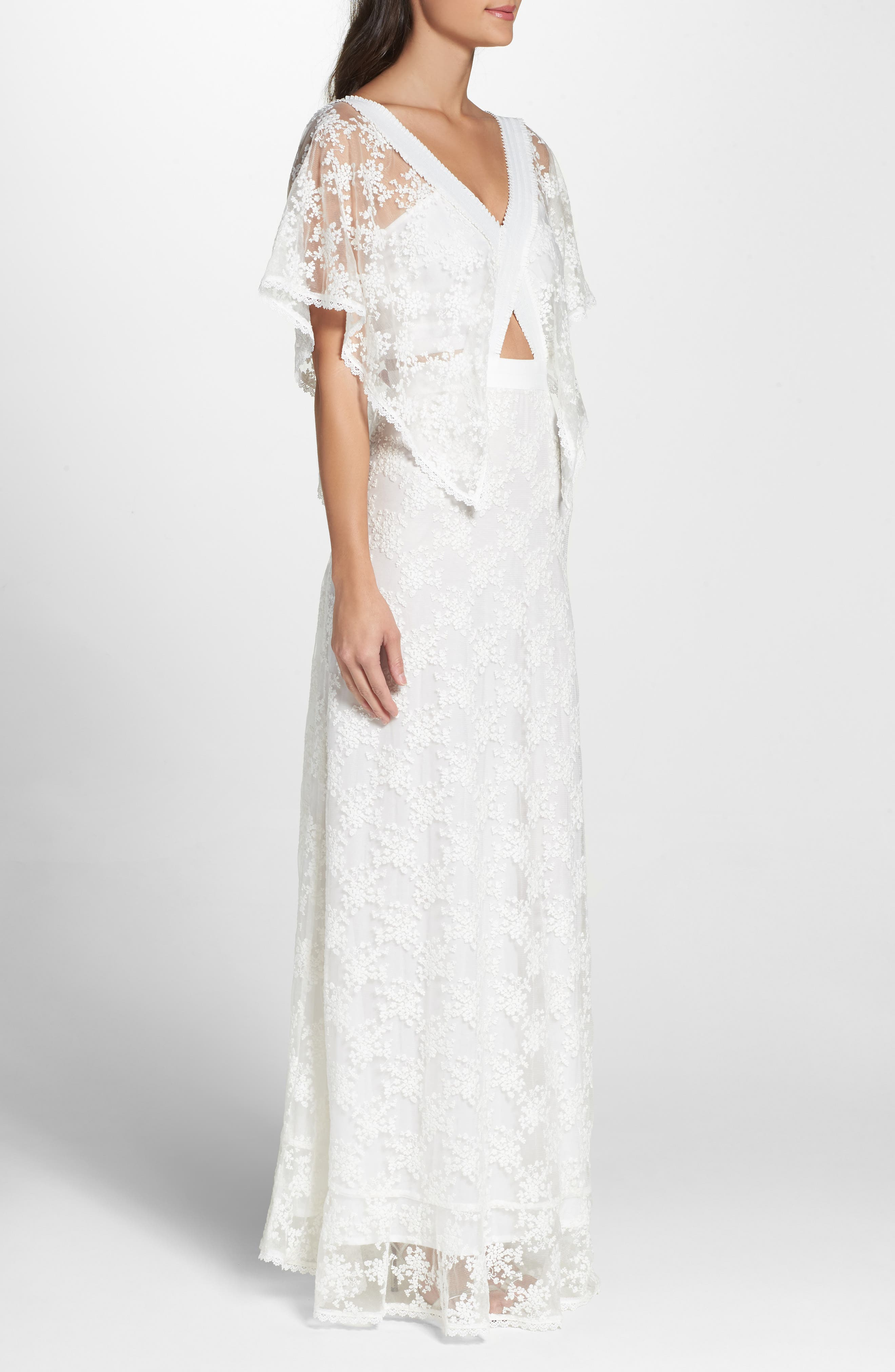 August Handkerchief Sleeve Embroidered Long Dress,                             Alternate thumbnail 3, color,                             Ivory