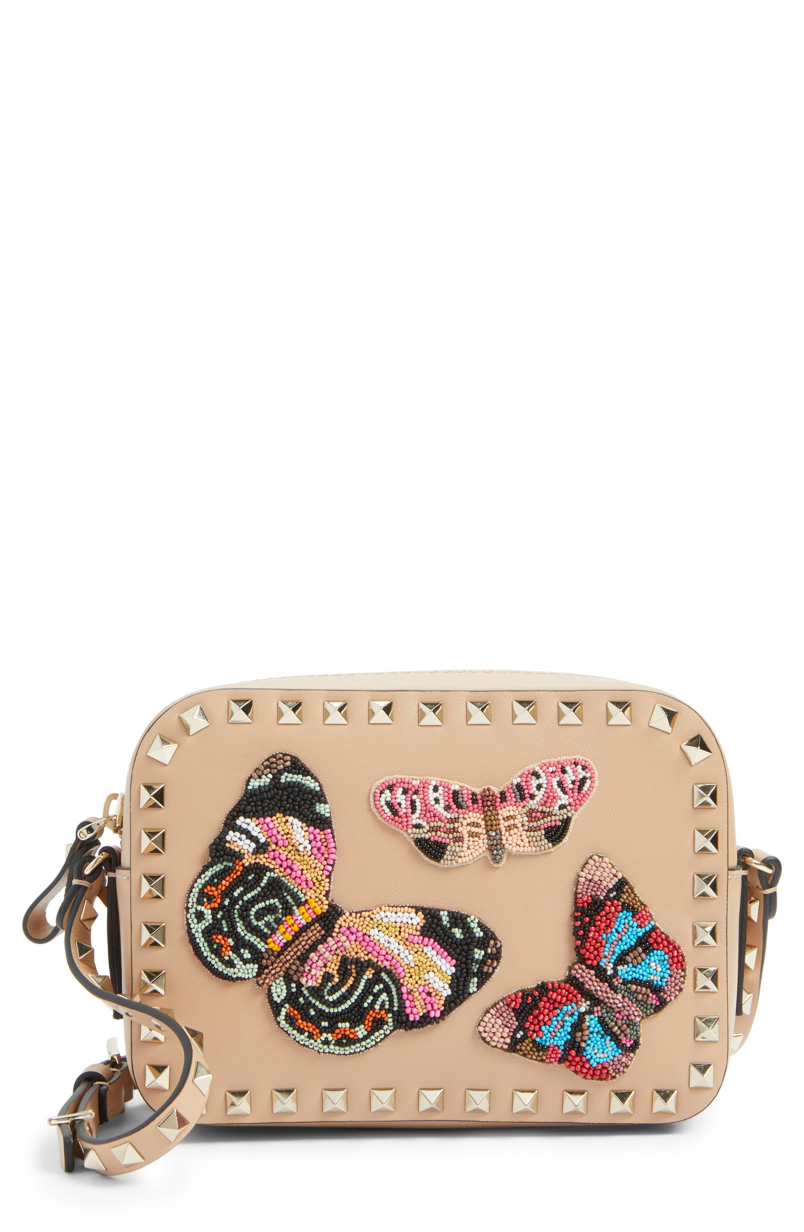 Rockstud Beaded Butterfly Leather Camera Crossbody Bag,                         Main,                         color, Camel Rose