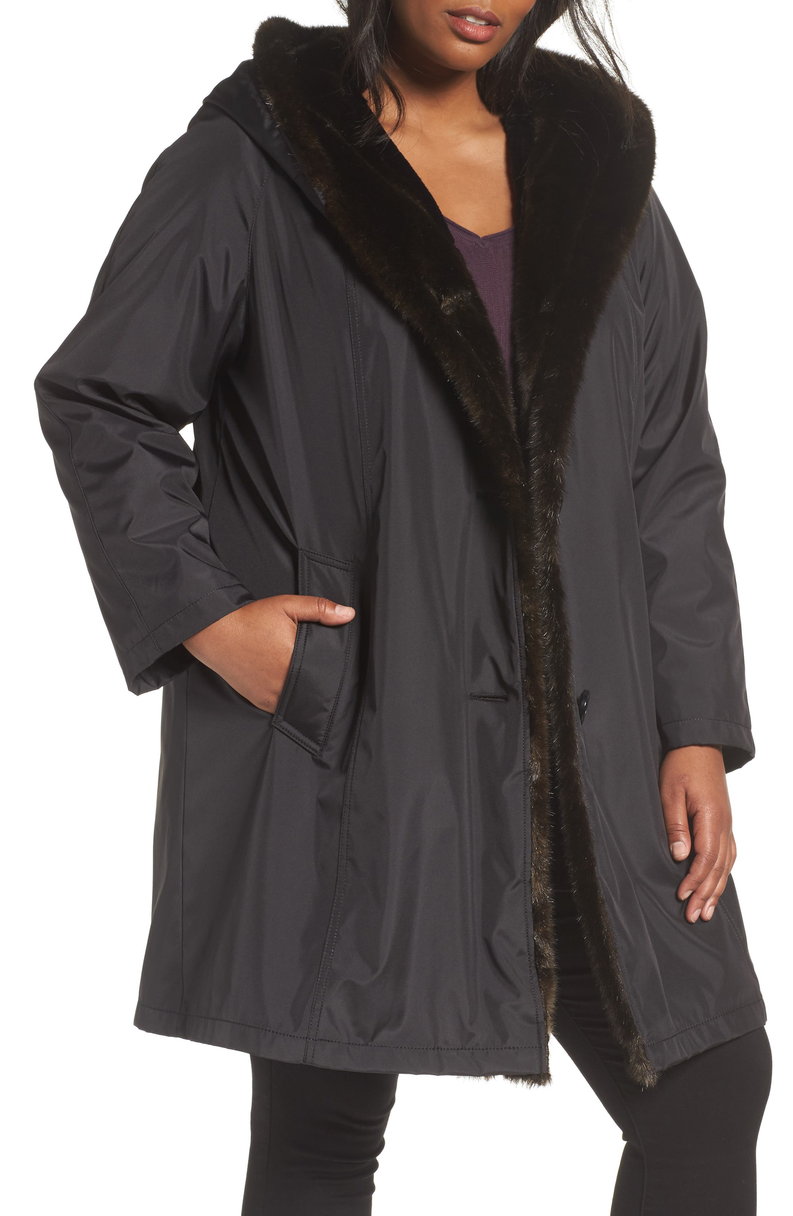 Gallery A-Line Storm Coat with Faux Fur Lining & Trim (Plus Size)