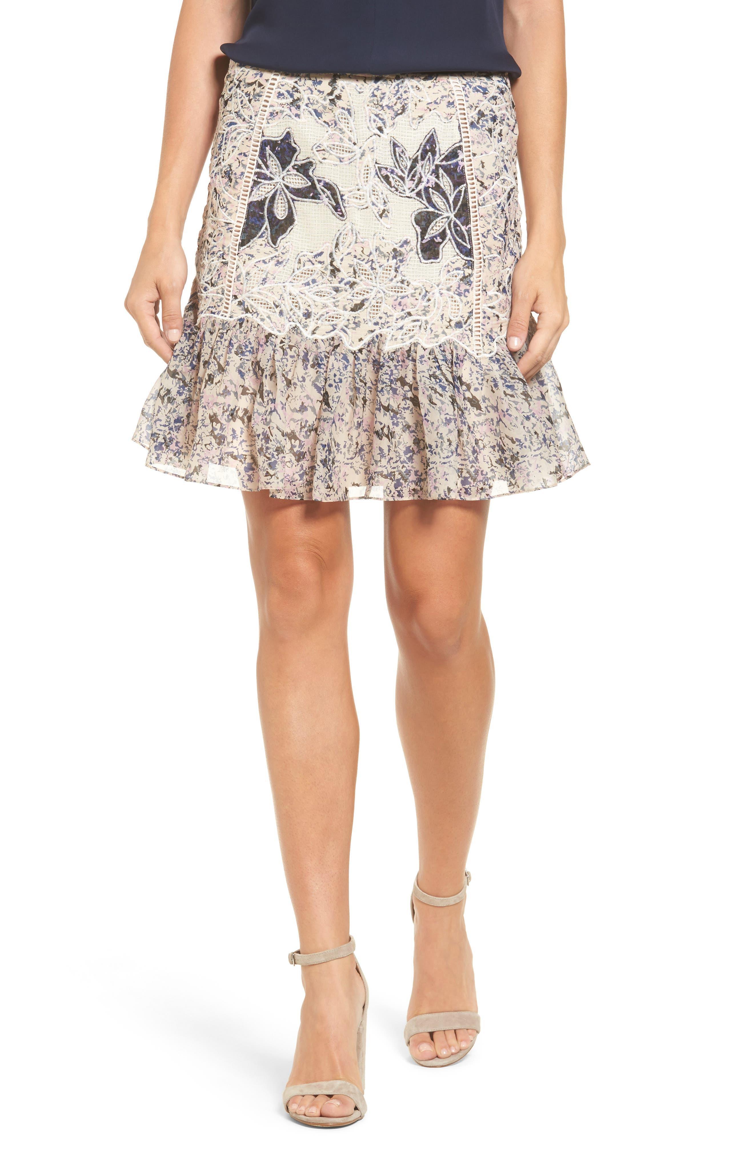 Main Image - Kobi Halperin Tegan Floral Fit & Flare Skirt