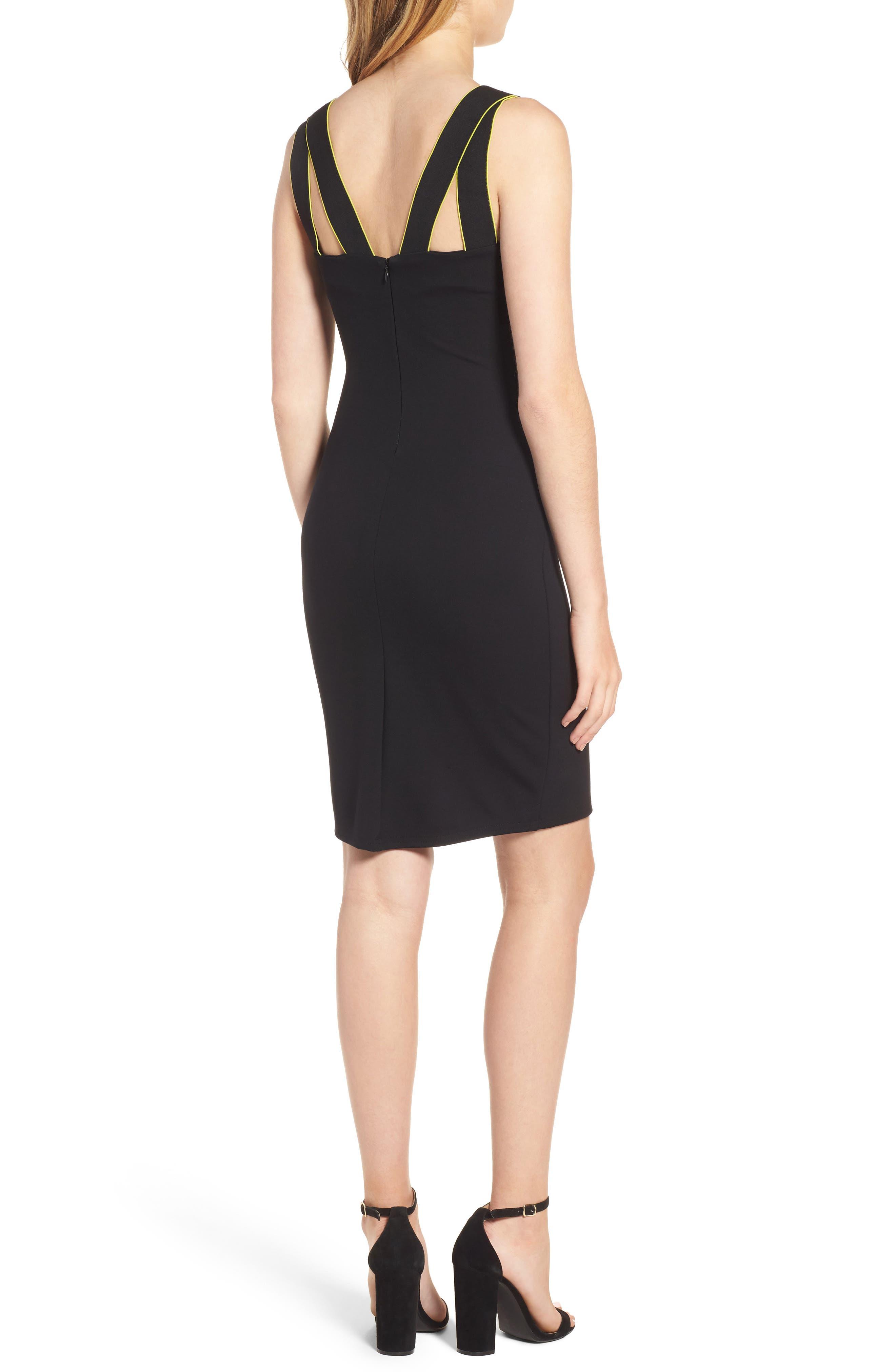 Mesh Inset Body-Con Dress,                             Alternate thumbnail 2, color,                             Black
