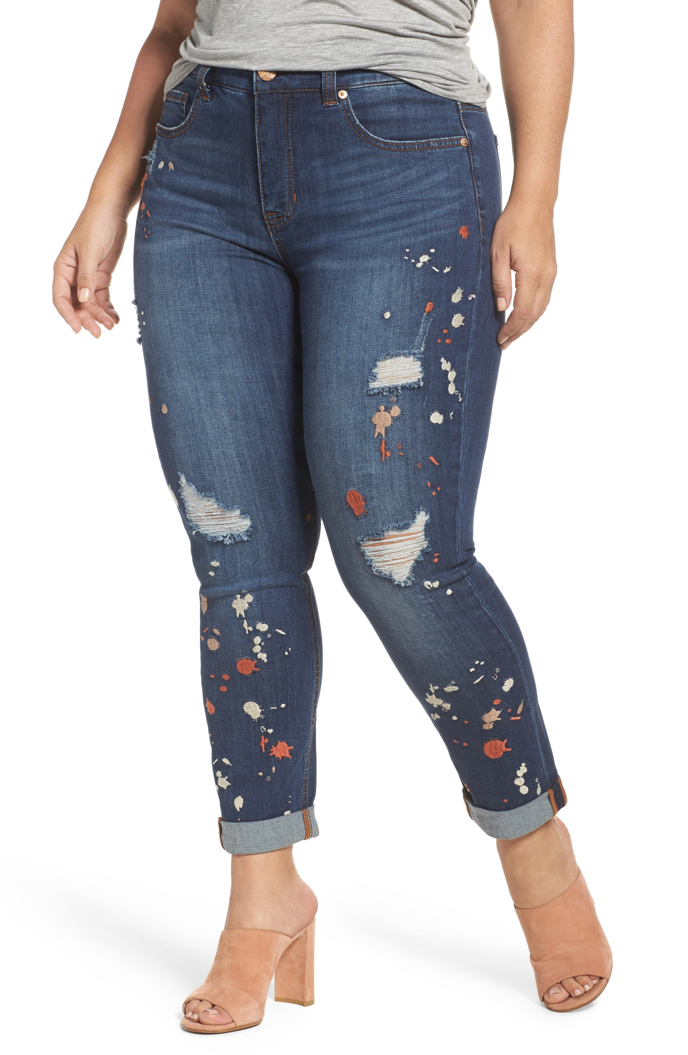 Main Image - Melissa McCarthy Seven7 Paint Splatter Stretch Skinny Jeans (Plus Size)