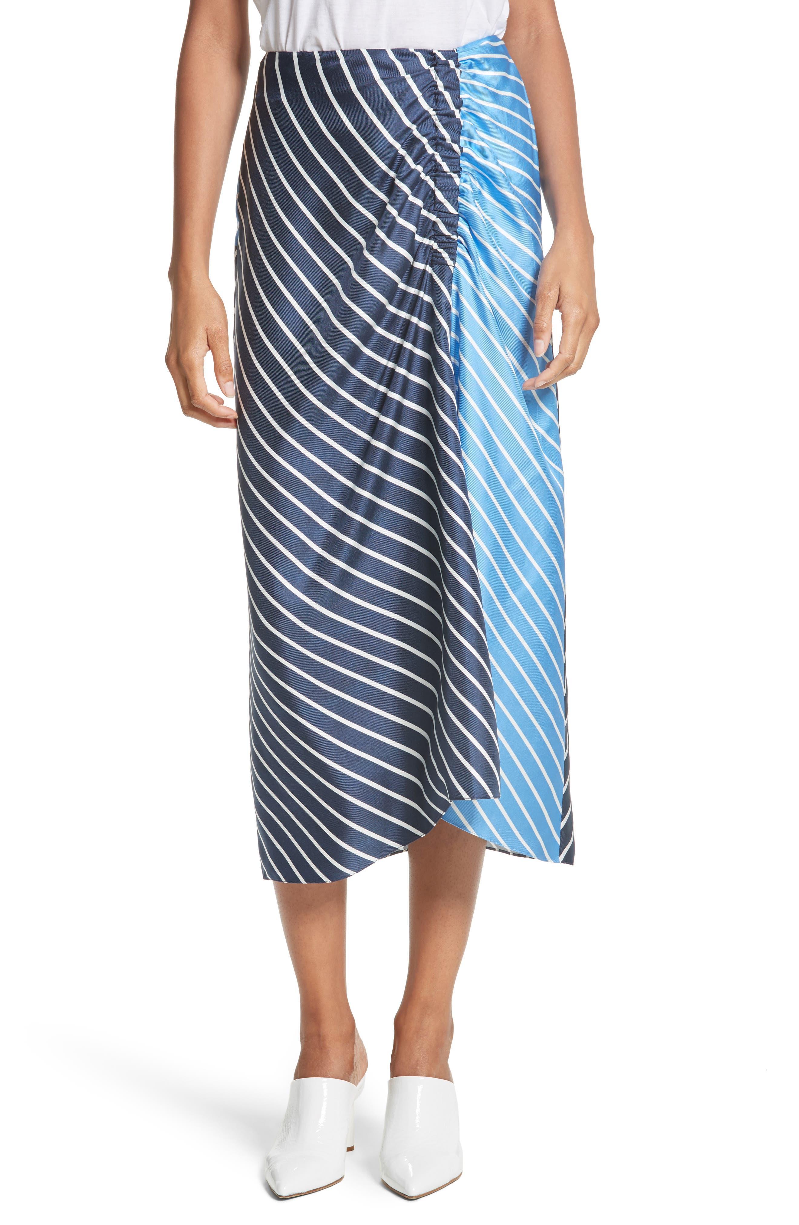 Tibi Delphina Colorblock Stripe Silk Midi Skirt