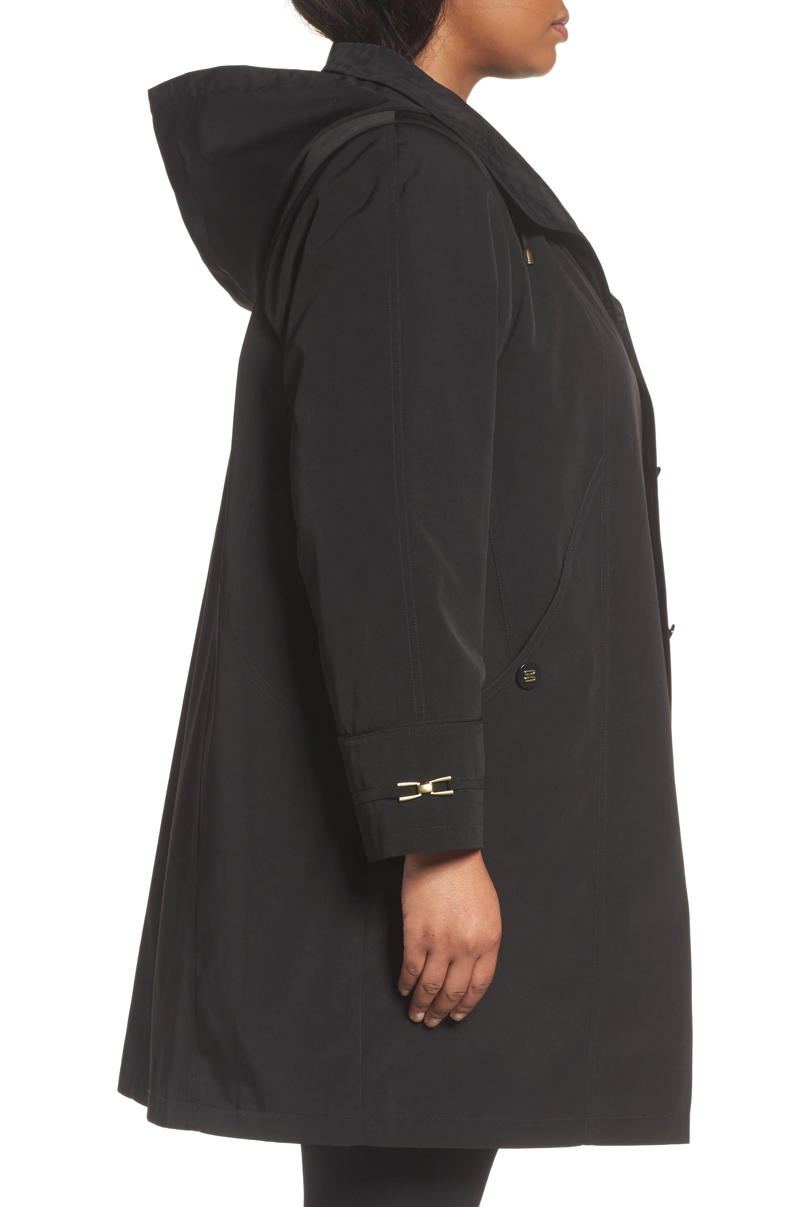 Alternate Image 3  - Gallery Long Silk Look Raincoat (Plus Size)