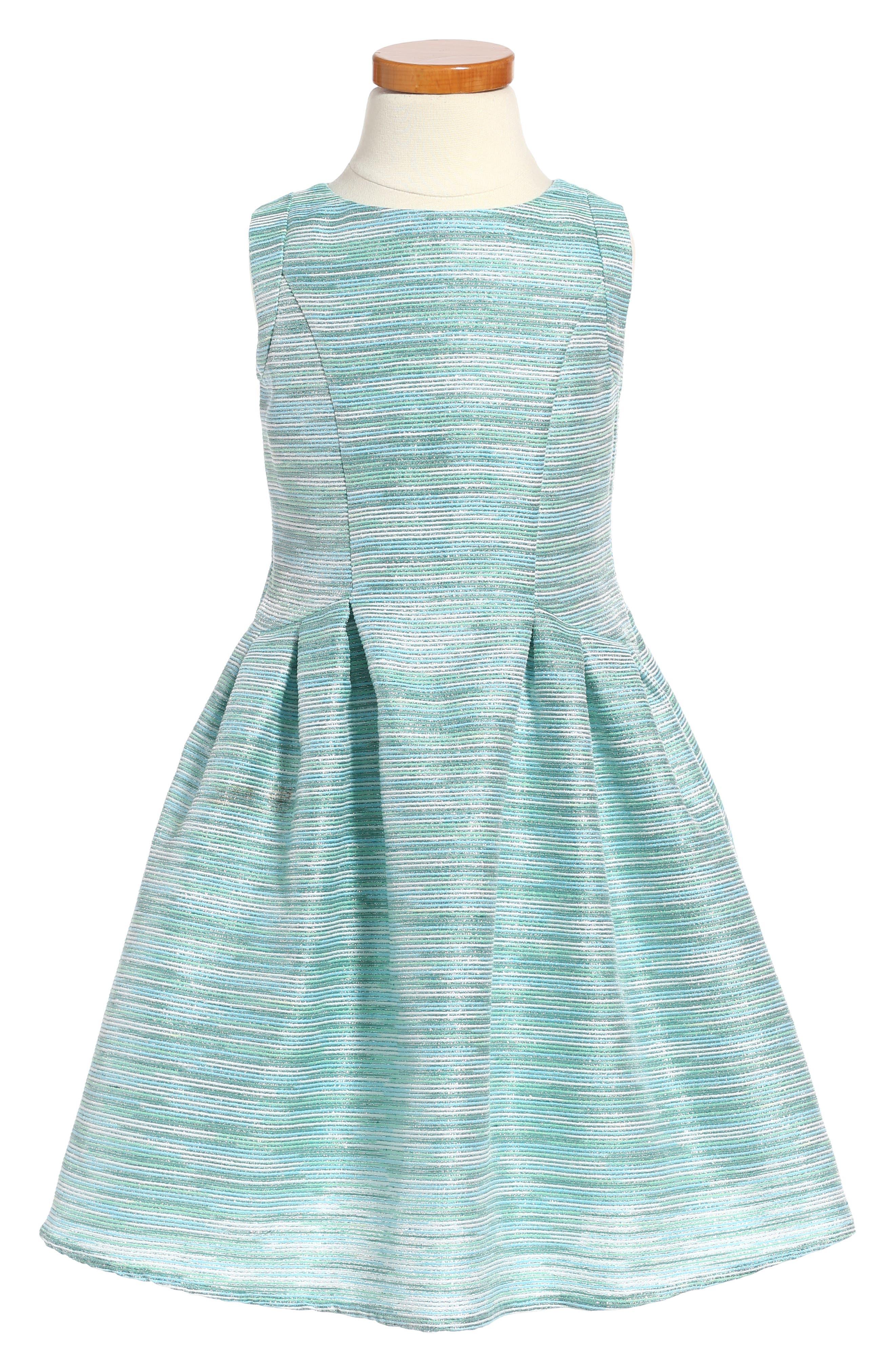 LITTLE ANGELS Stripe Brocade Sleeveless Dress
