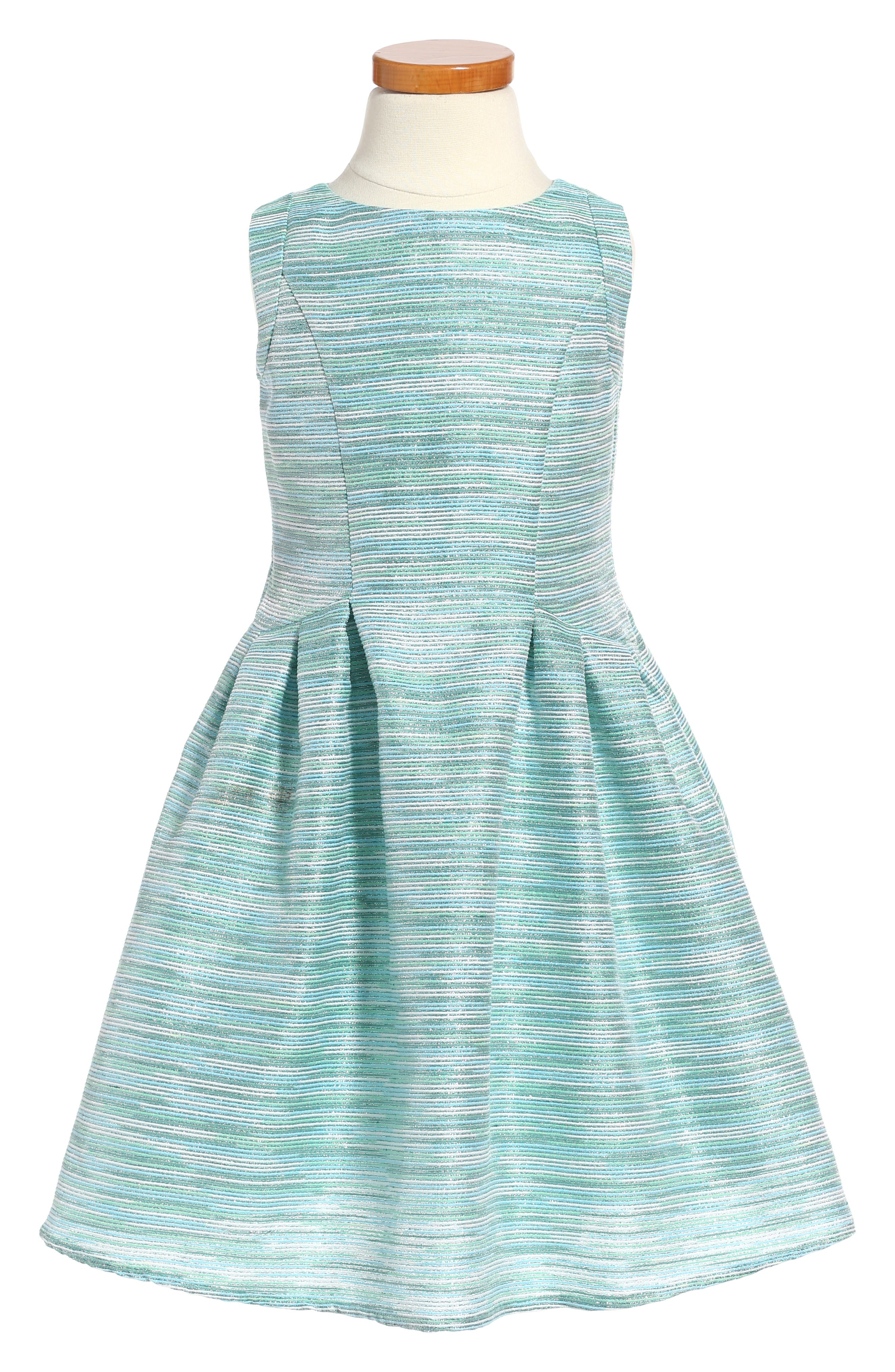 Little Angels Stripe Brocade Sleeveless Dress (Toddler Girls & Little Girls)