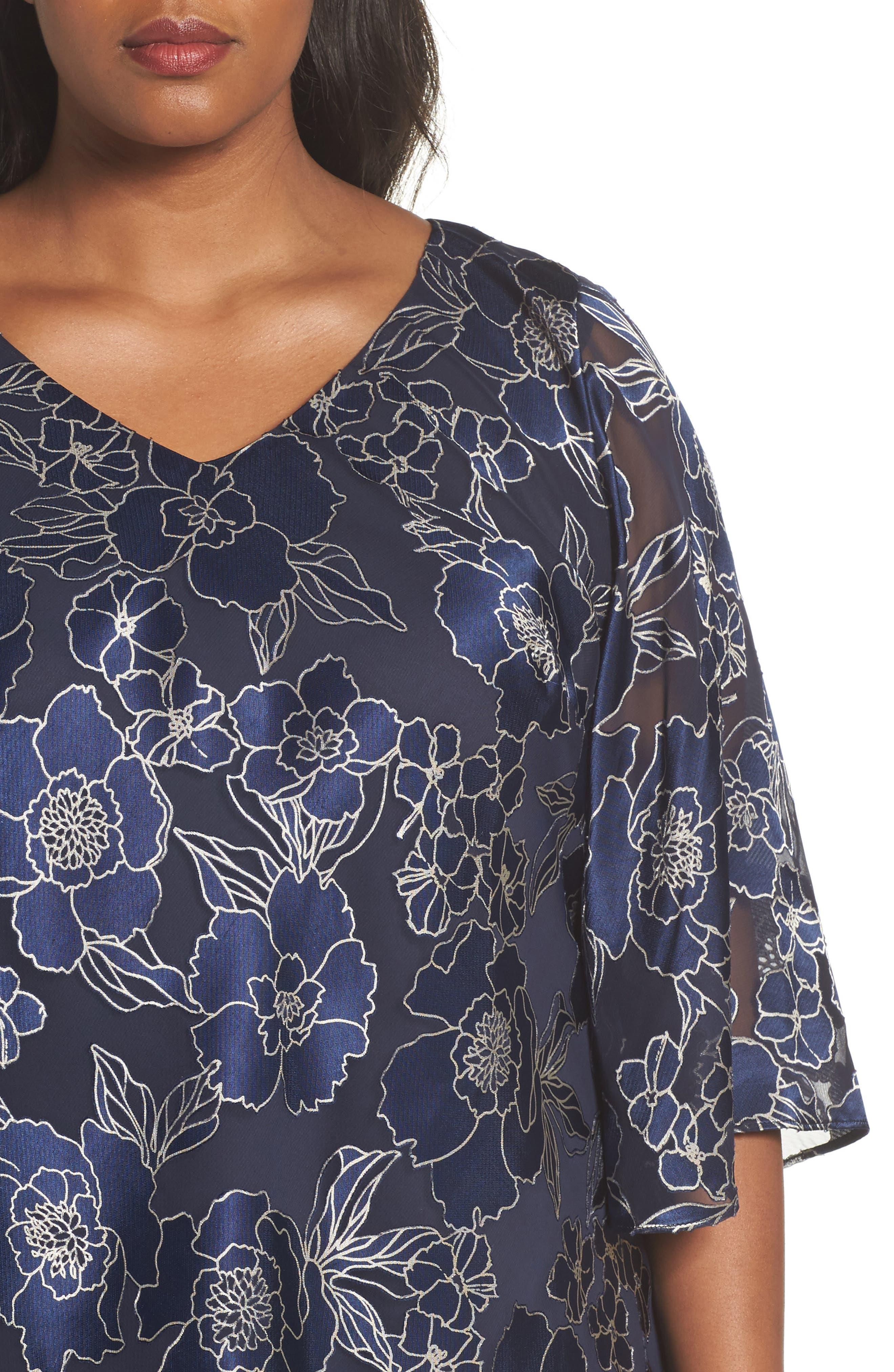 Alternate Image 4  - Alex Evenings Burnout Floral Blouse (Plus Size)