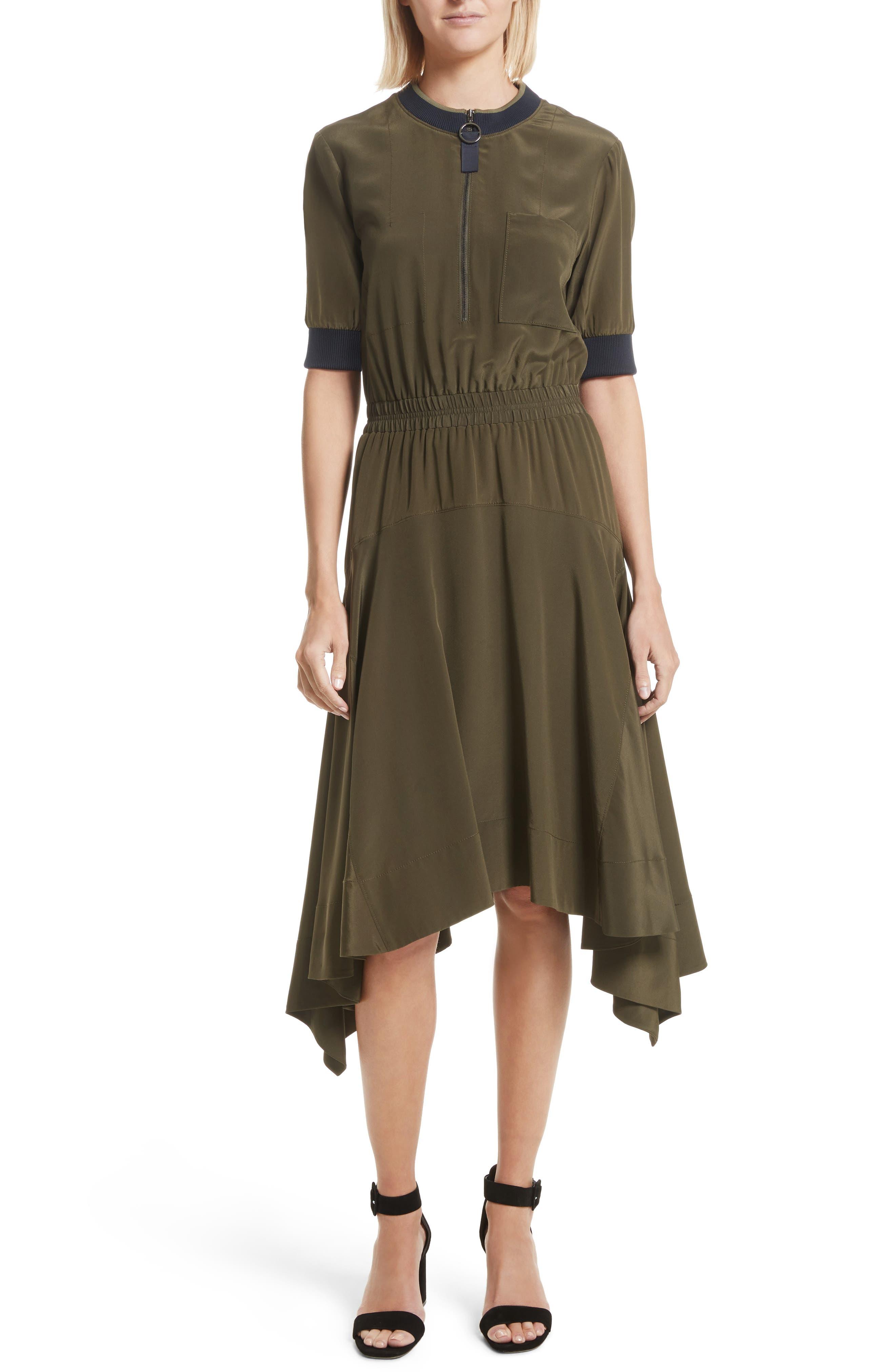 Ribbed Detail Silk Handkerchief Dress,                             Main thumbnail 1, color,                             Moss