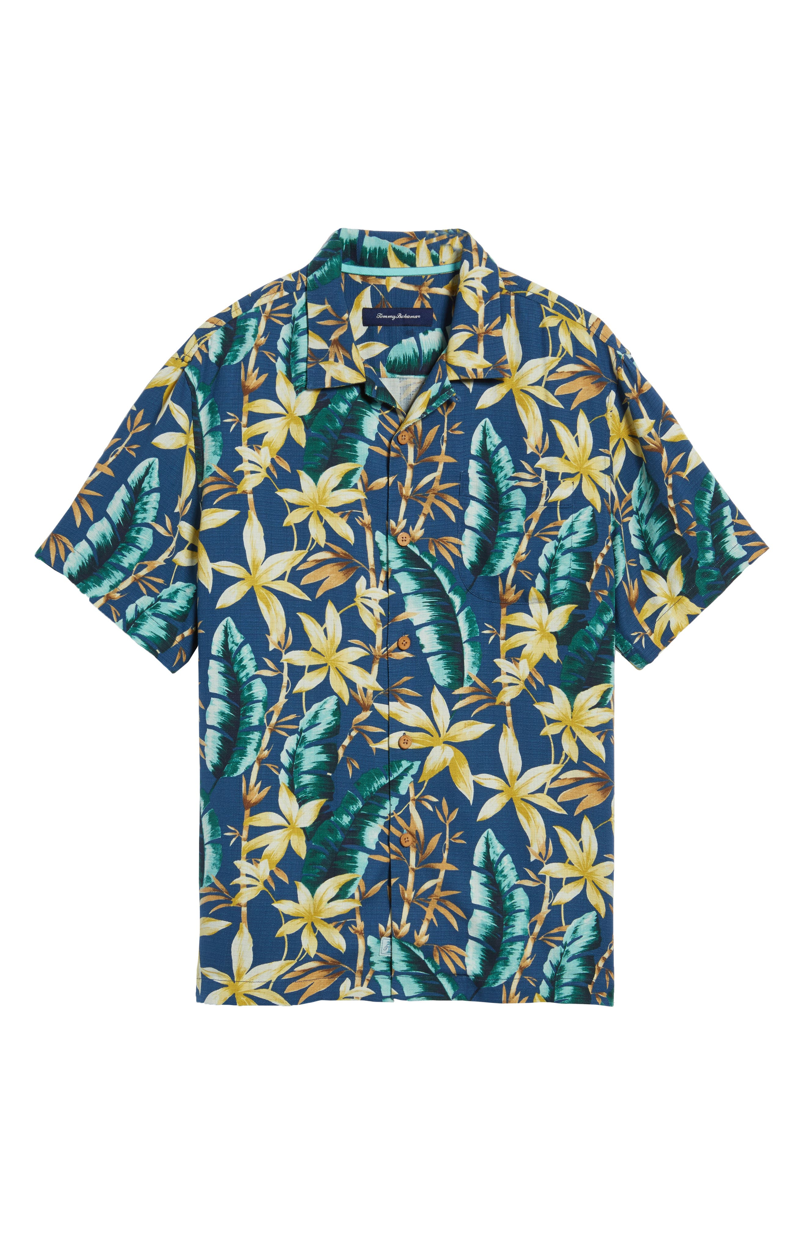 Standard Fit Jungle Punch Silk Camp Shirt,                             Alternate thumbnail 6, color,                             Bering Blue