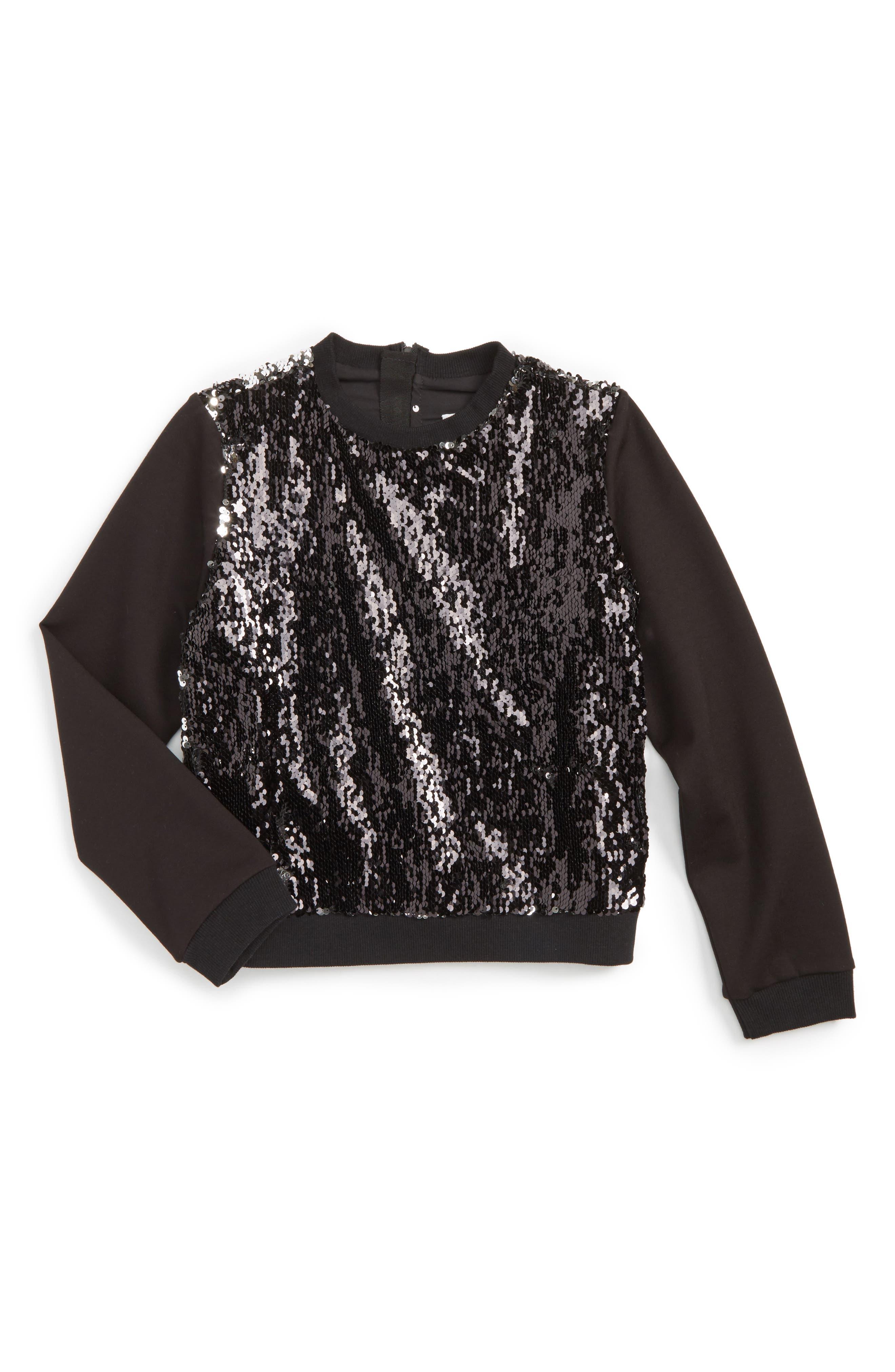 Sequin Sweatshirt,                             Alternate thumbnail 2, color,                             Silver/ Black