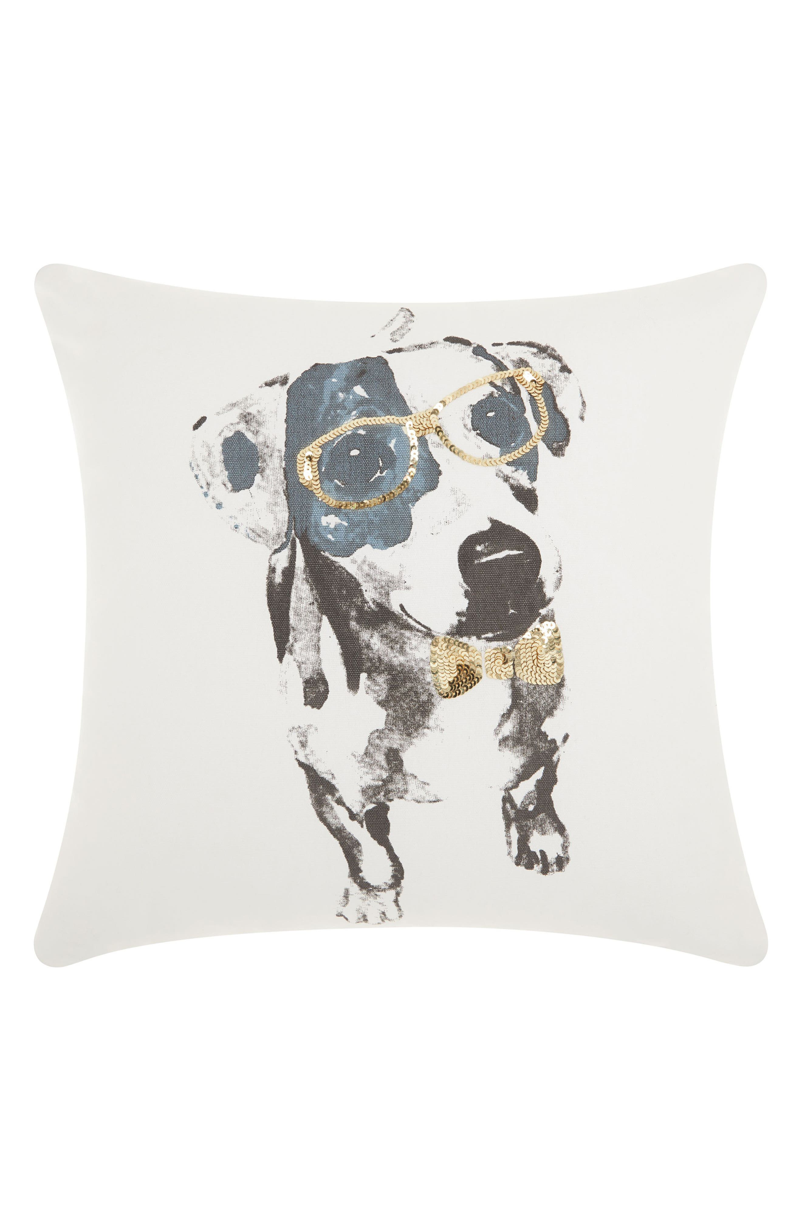 Sequin Dalmatian Accent Pillow,                         Main,                         color, White