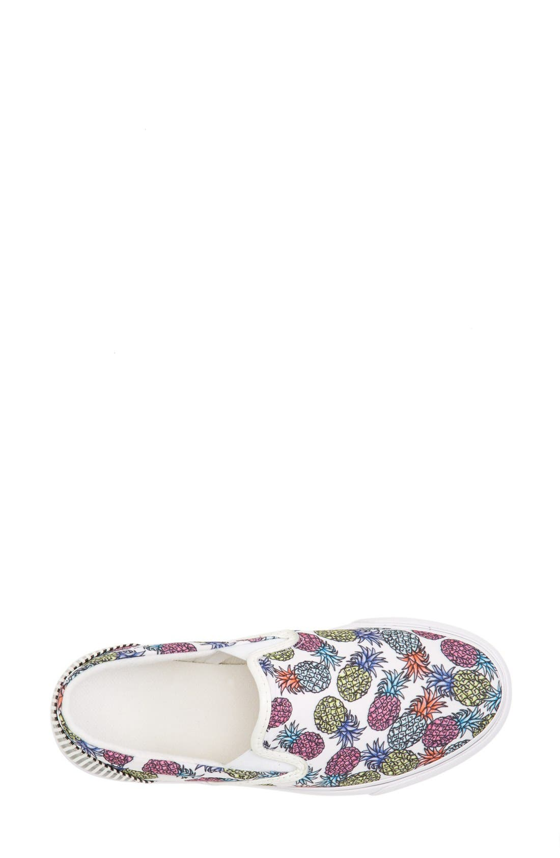 'Adele - Pineapple' Satin Slip-On Sneaker,                             Alternate thumbnail 3, color,                             Pineapple White