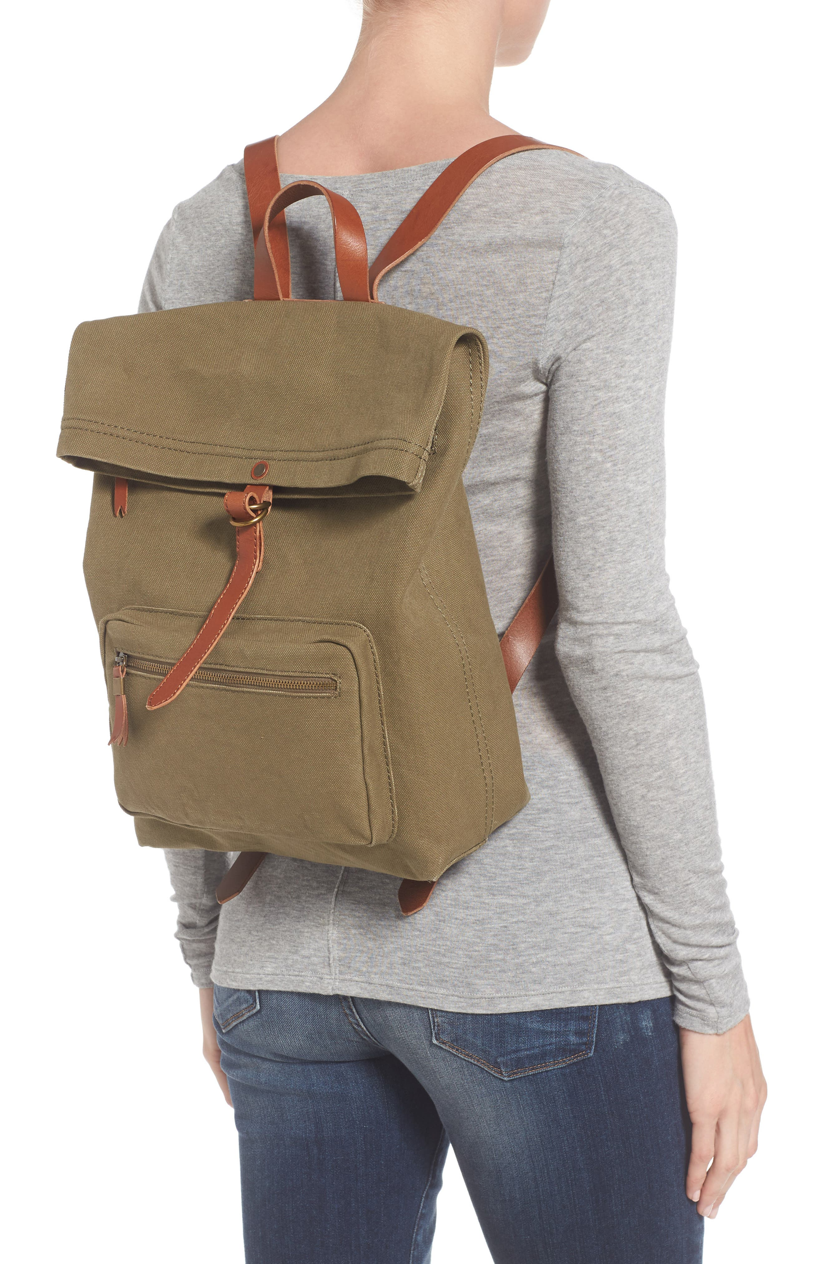 The Canvas Foldover Backpack,                             Alternate thumbnail 2, color,                             British Surplus