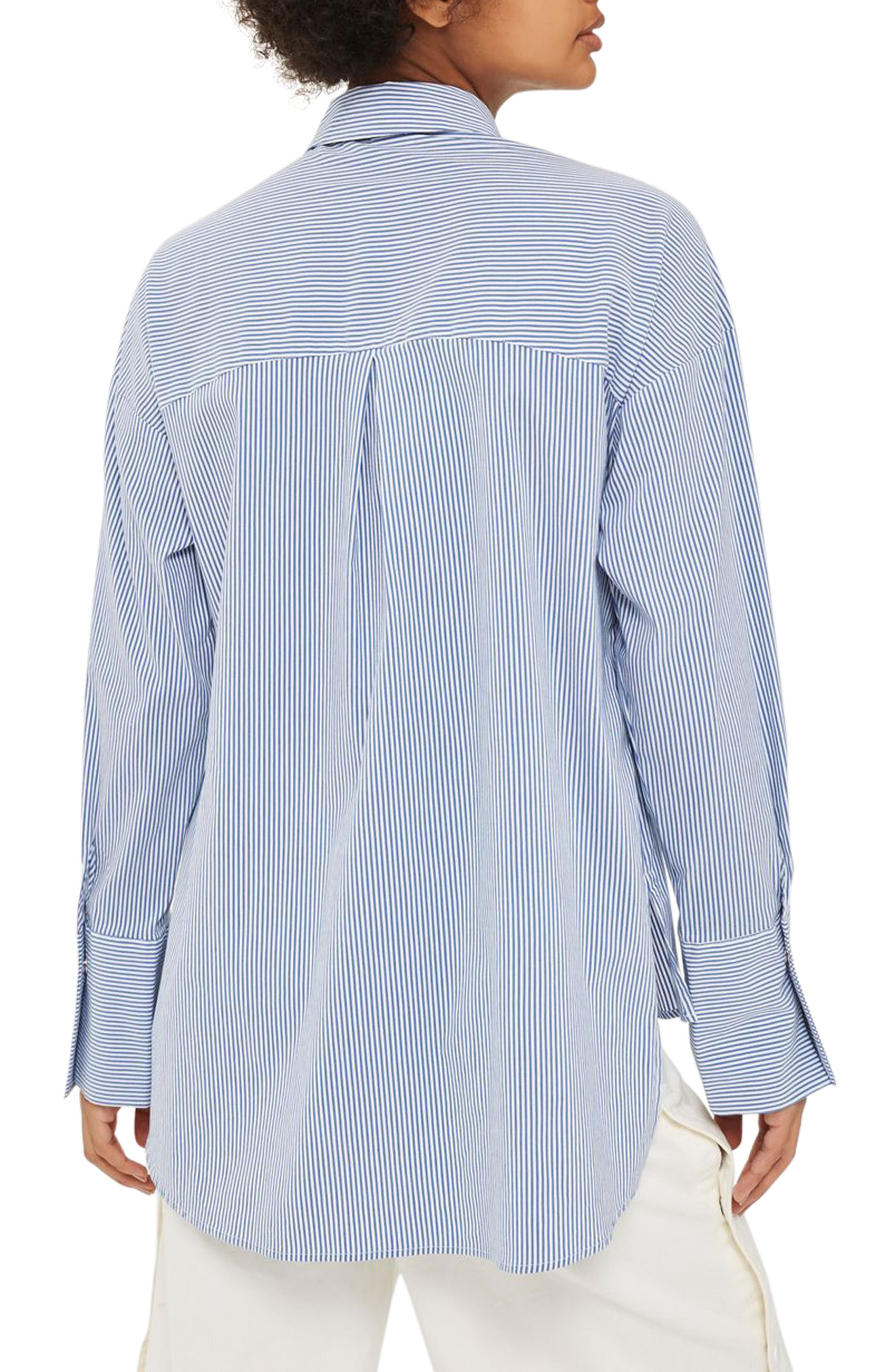 Side Lace-Up Shirt,                             Alternate thumbnail 3, color,                             Blue Multi