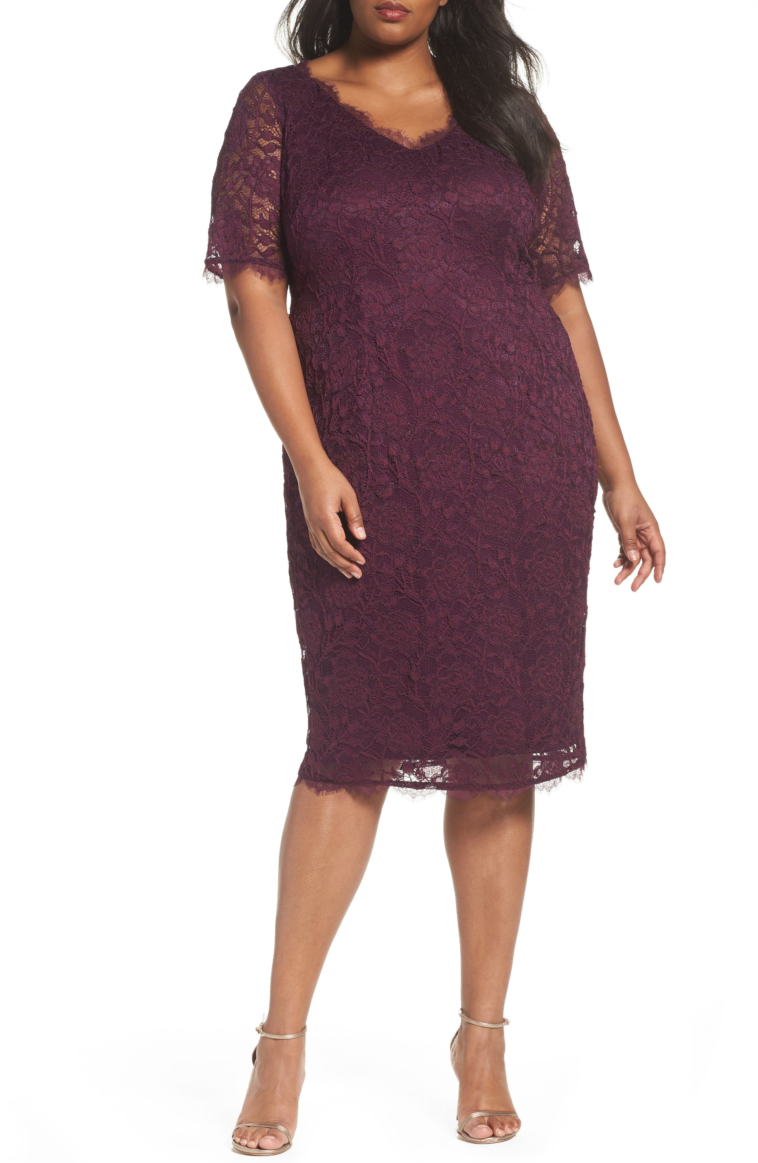 Adrianna Papell Rose Lace Sheath Dress (Plus Size)