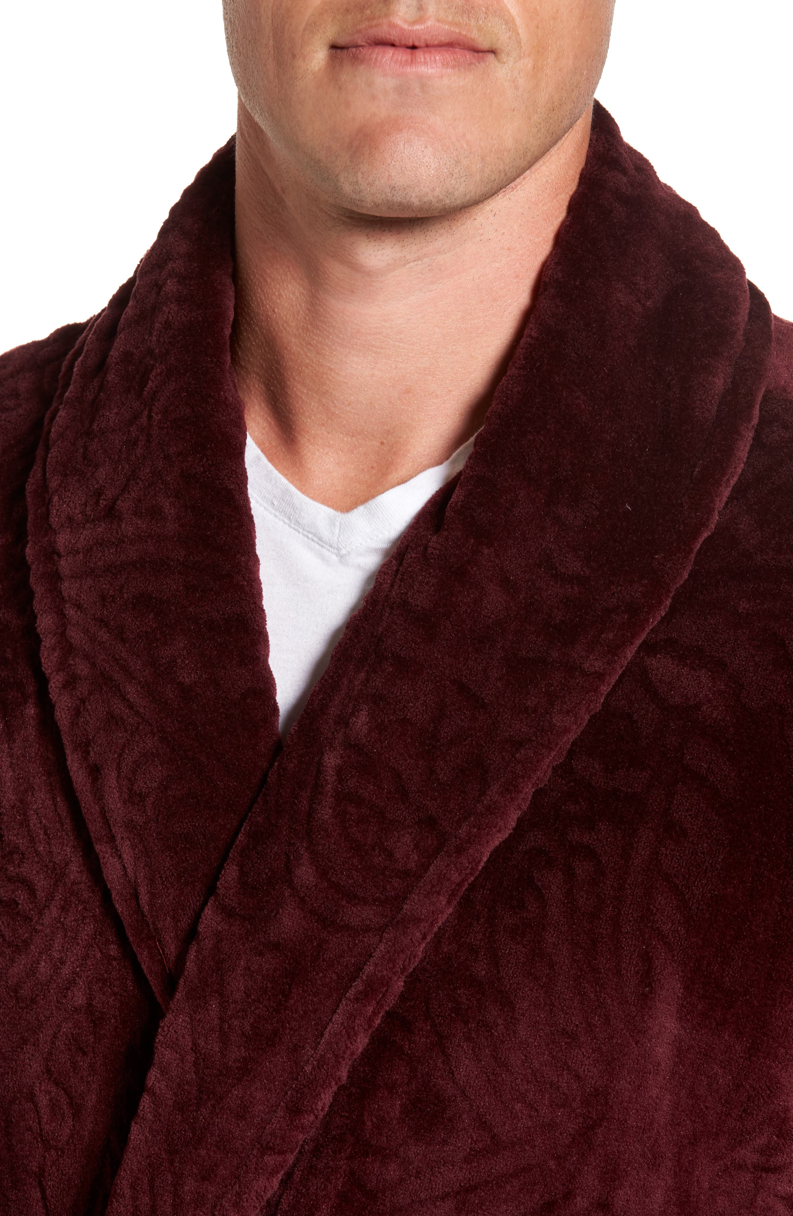 Midtown Robe,                             Alternate thumbnail 4, color,                             Burgundy Paisley