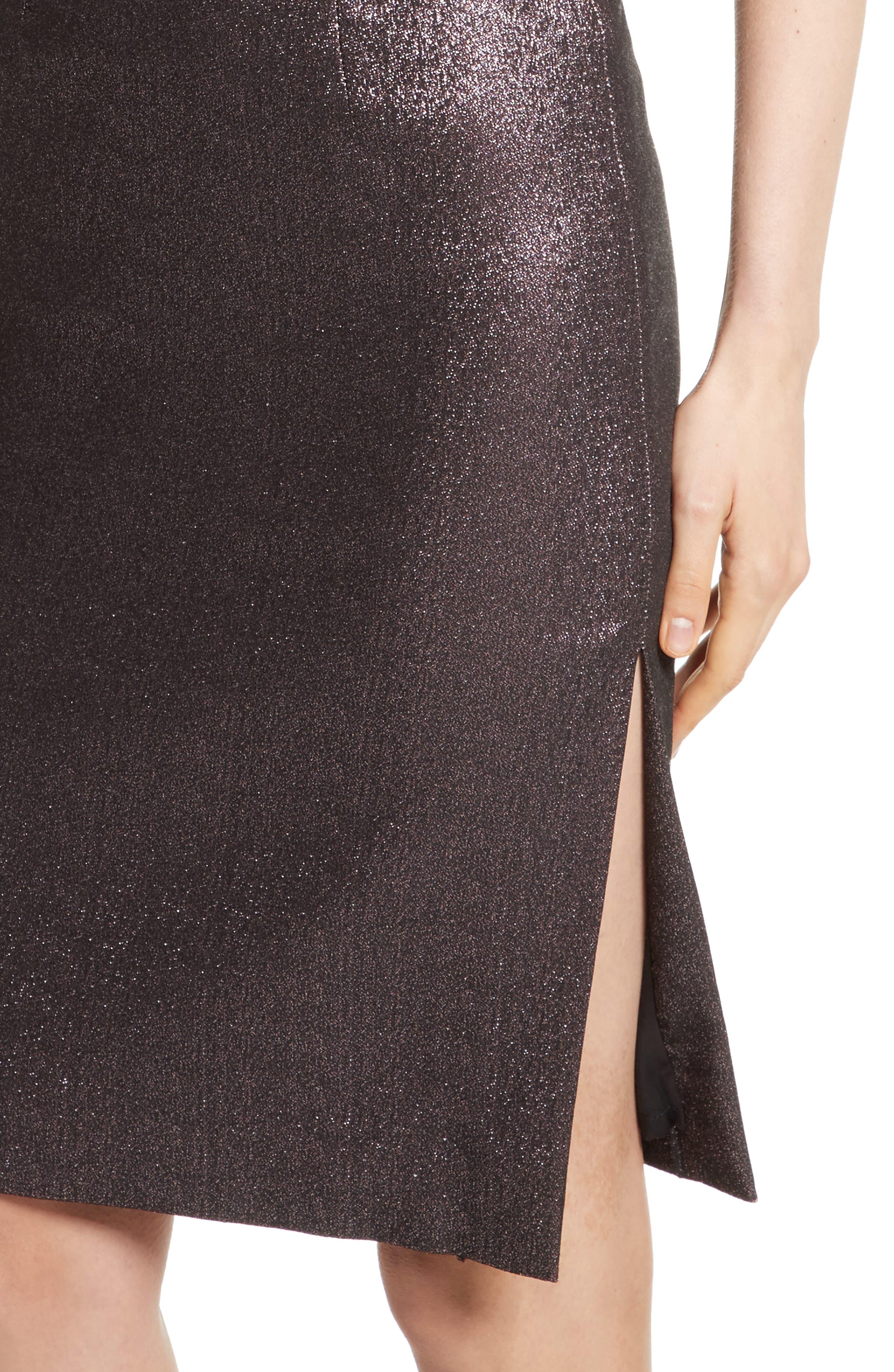 Tara Stretch Metallic Sheath Dress,                             Alternate thumbnail 4, color,                             Ballet