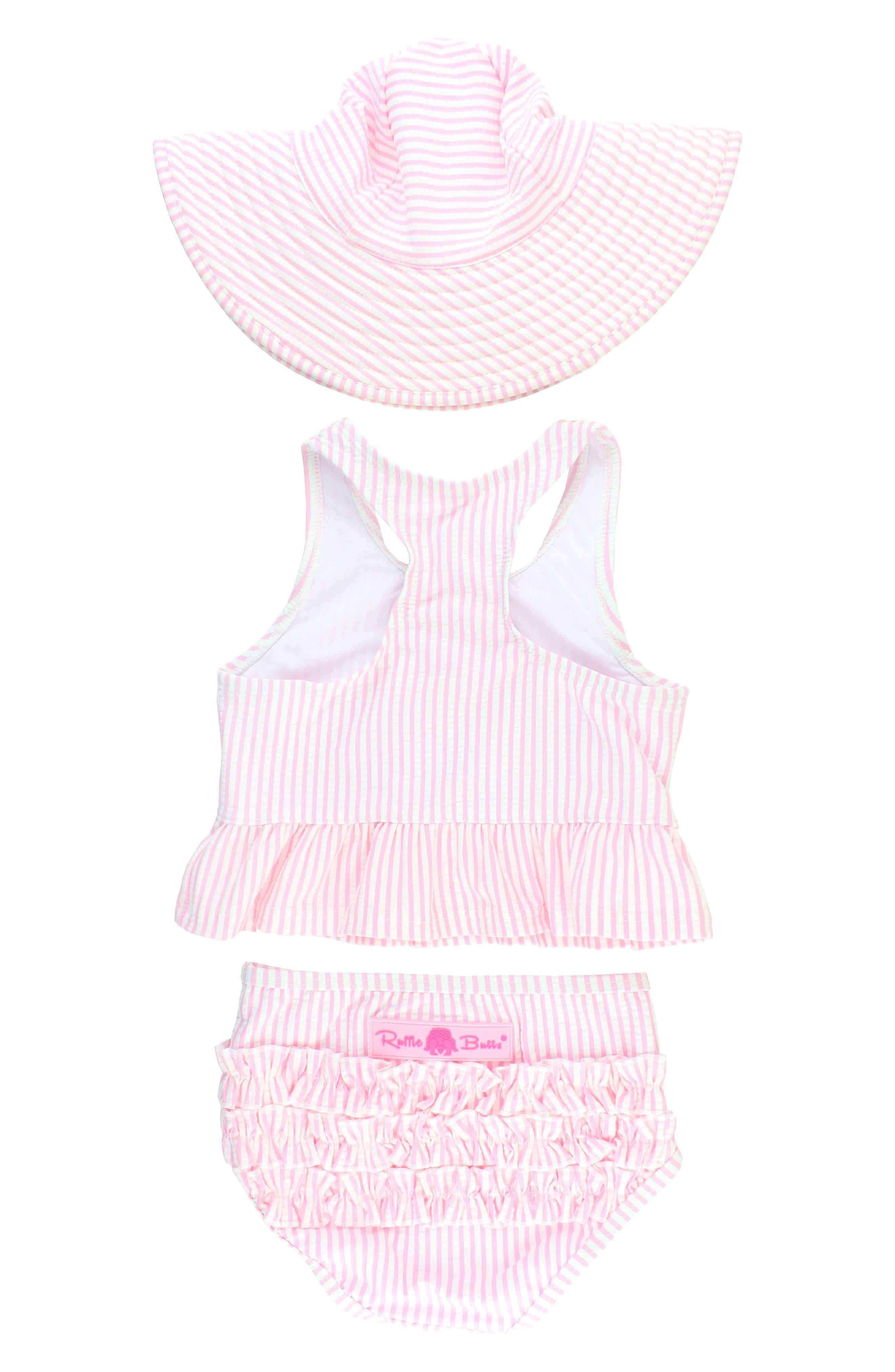 Seersucker Two-Piece Swimsuit & Hat Set,                             Alternate thumbnail 2, color,                             Pink