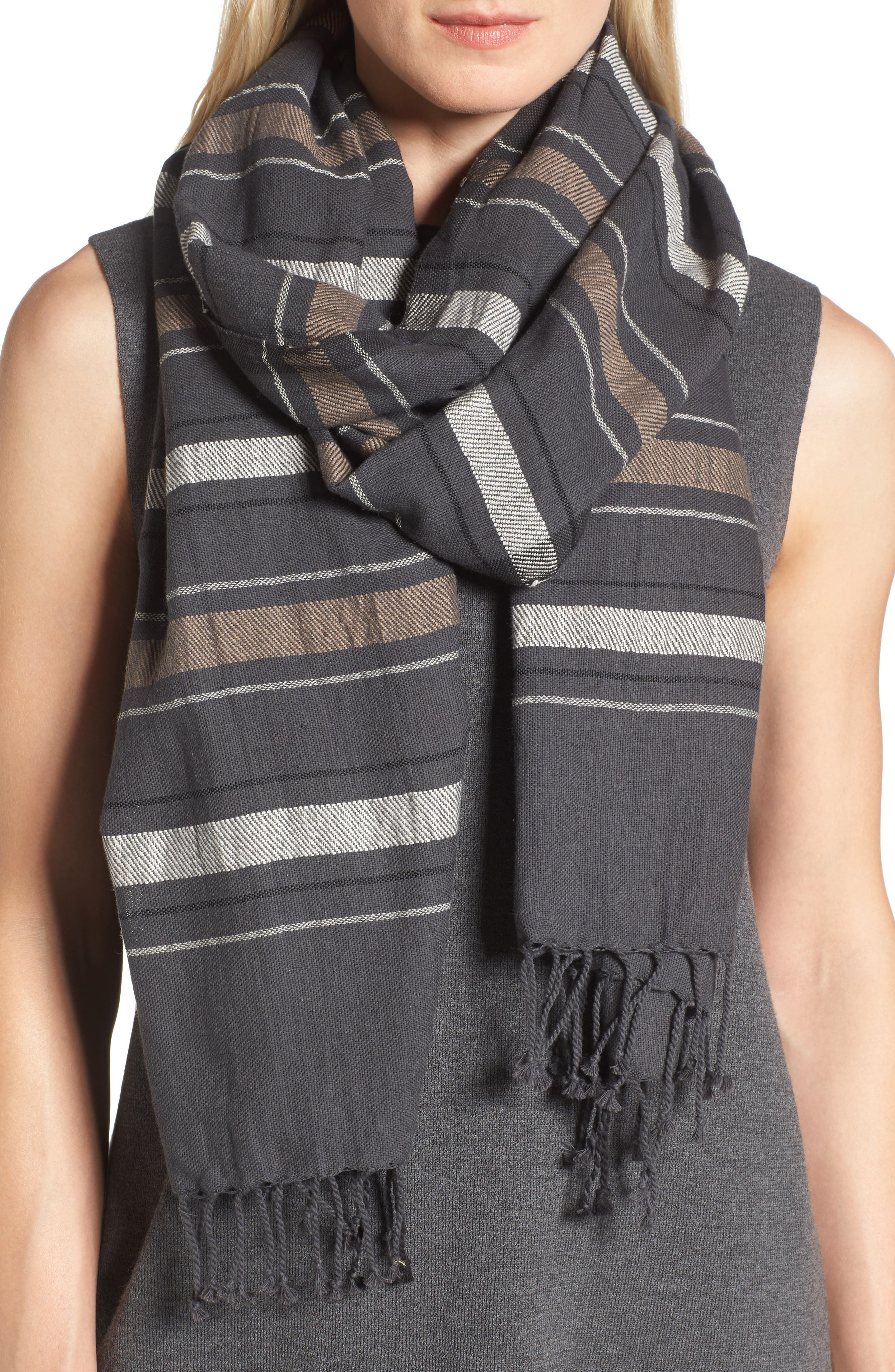 EILEEN FISHER Stripe Organic Cotton & Wool Scarf