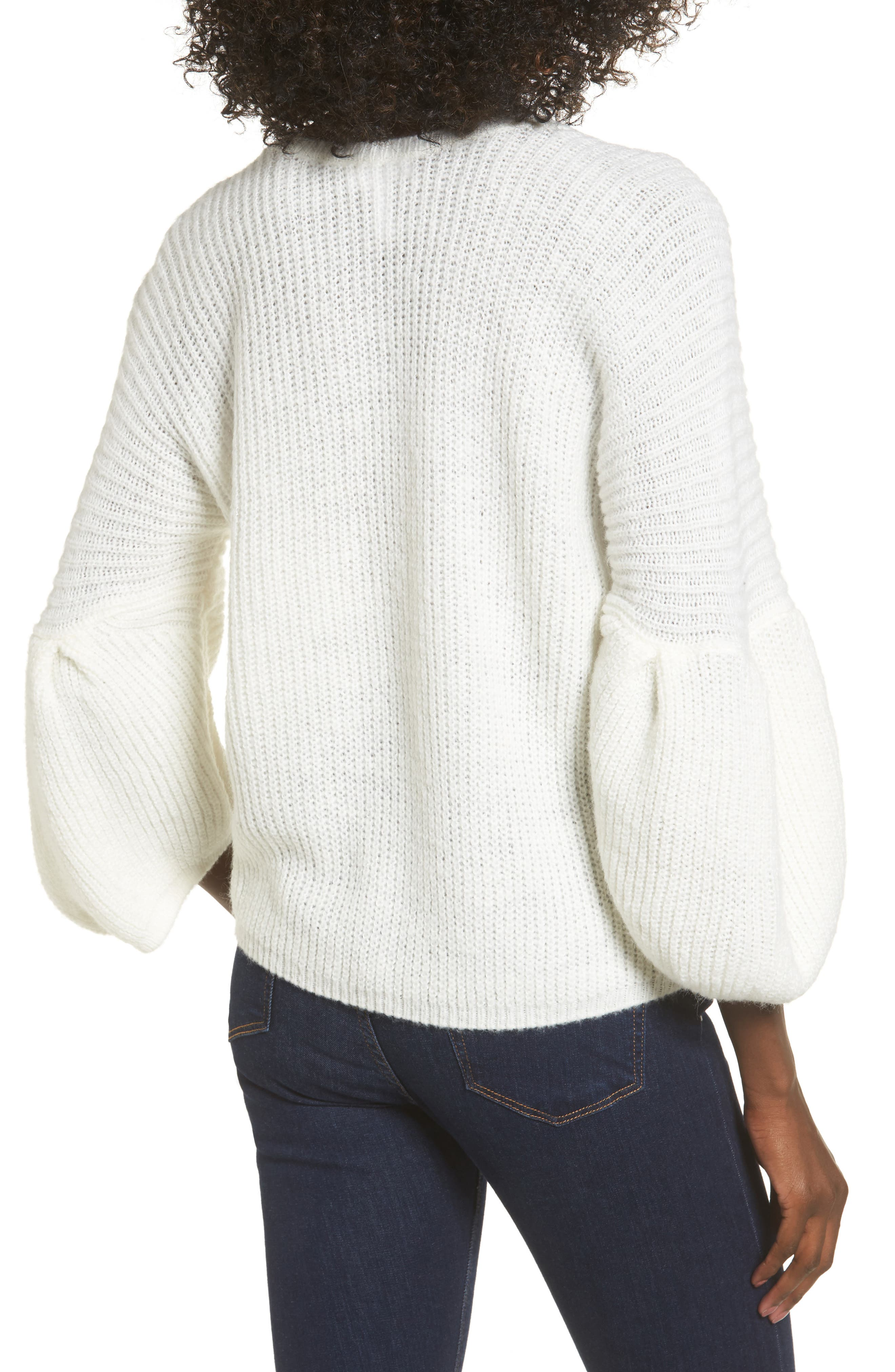 Bubble Sleeve Sweater,                             Alternate thumbnail 2, color,                             Ivory