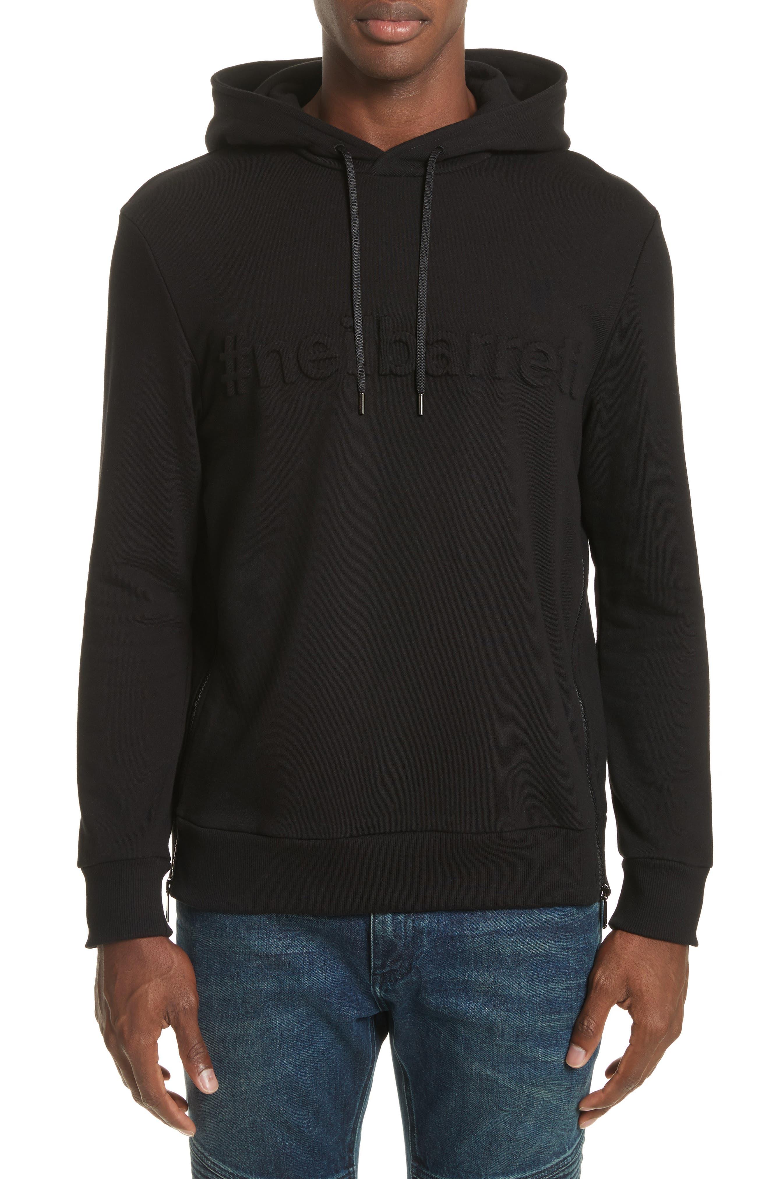 Neil Barrett Logo Embossed Side Zip Hoodie