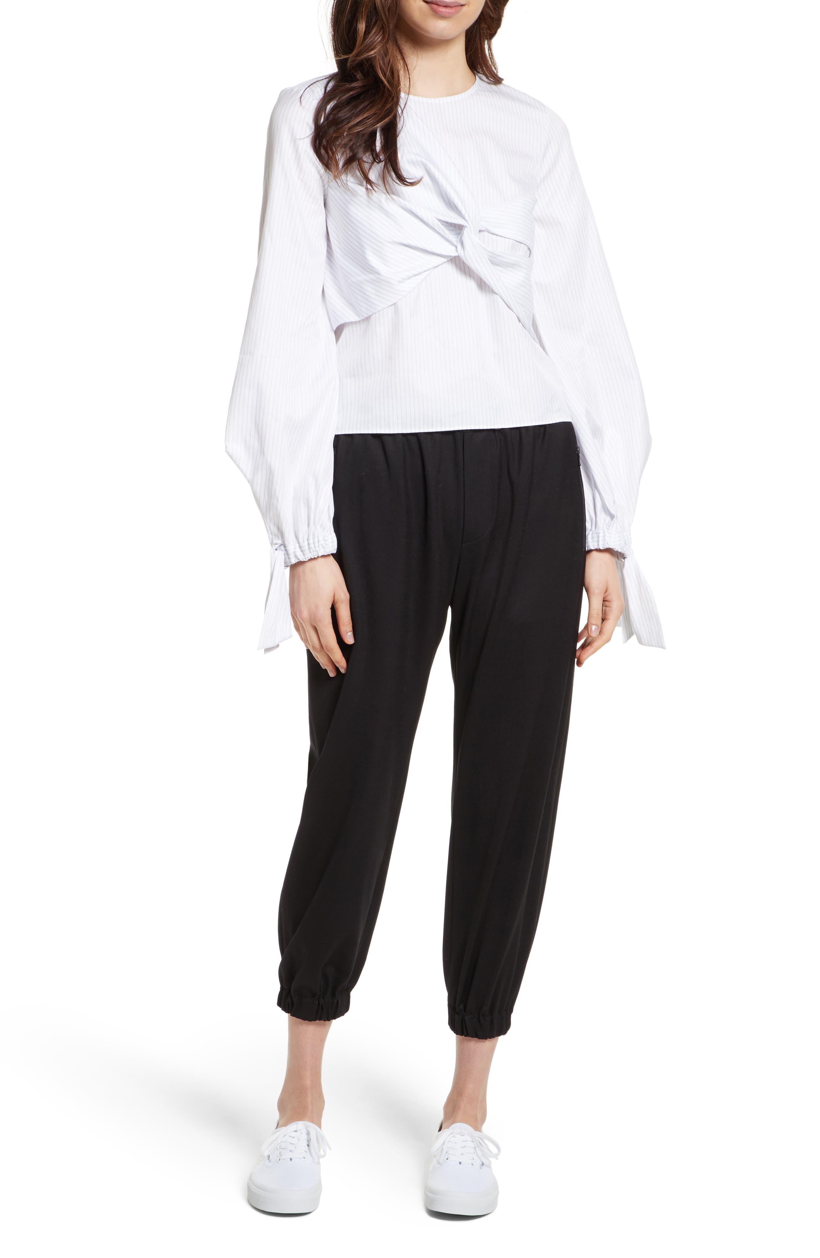 Italian Wool Gabardine Jogger Pants,                             Alternate thumbnail 2, color,                             Black