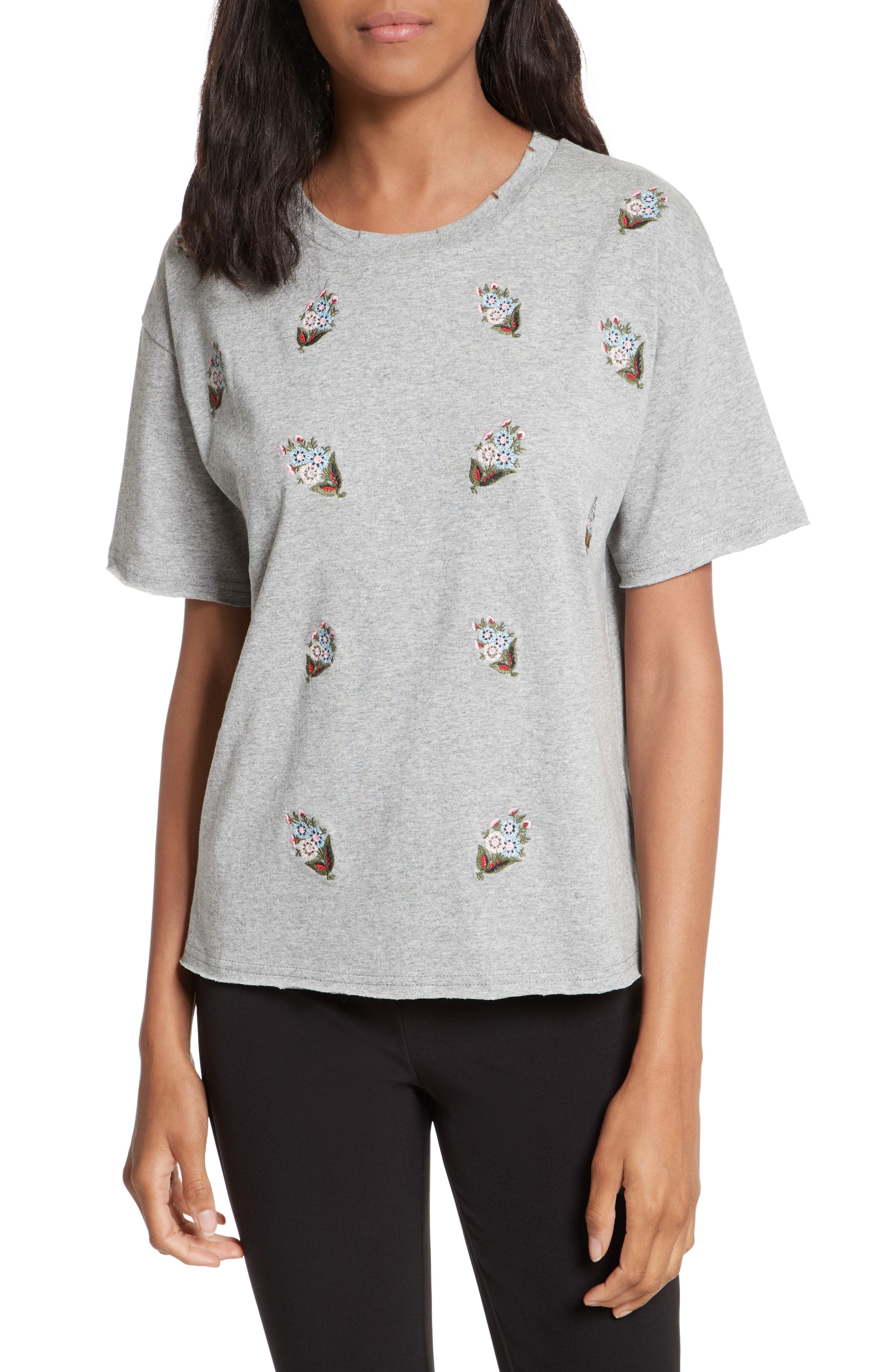 Ronnie Embroidered Tee,                         Main,                         color, Heather Grey