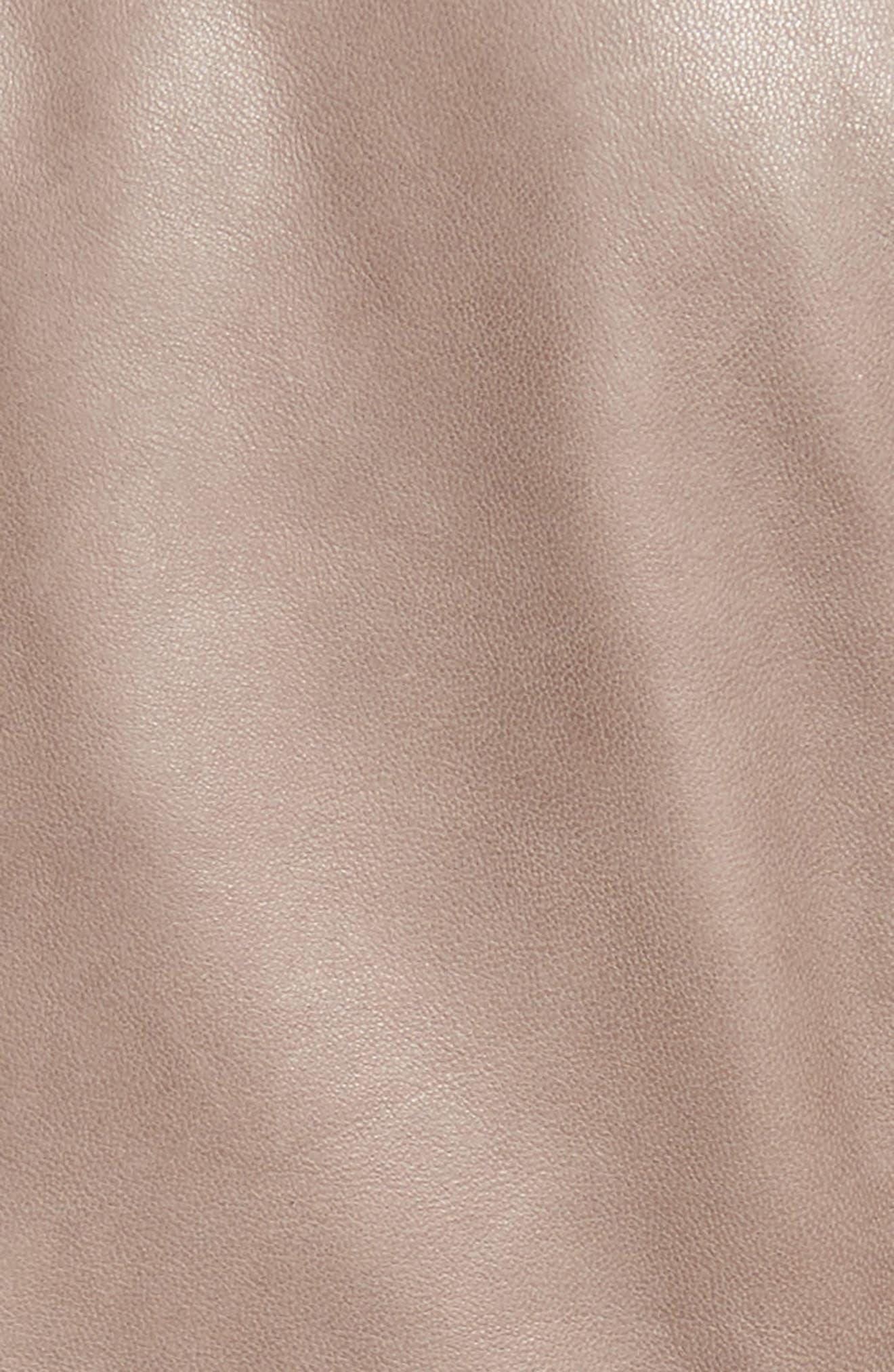 Asymmetrical Leather Jacket,                             Alternate thumbnail 4, color,                             Taupe Dusk
