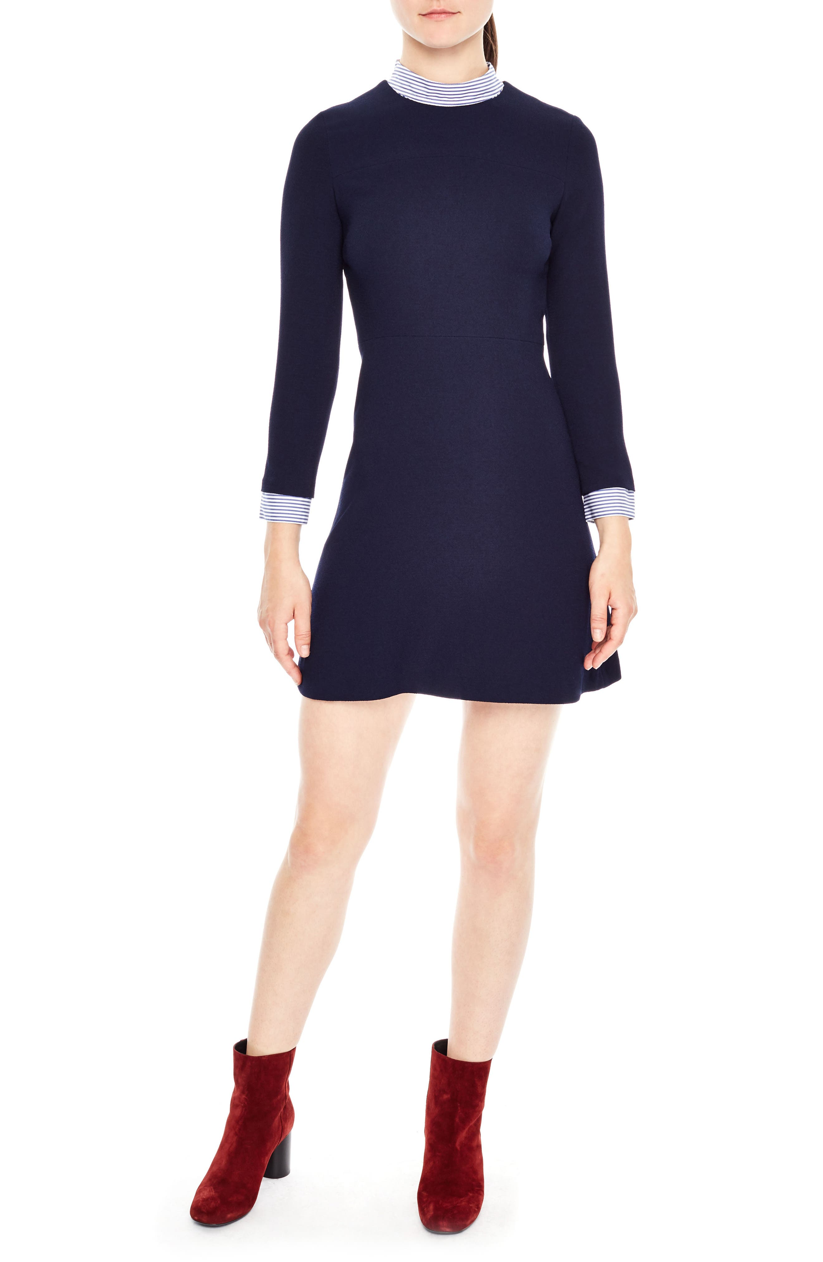 SANDRO Stripe Trim A-Line Dress