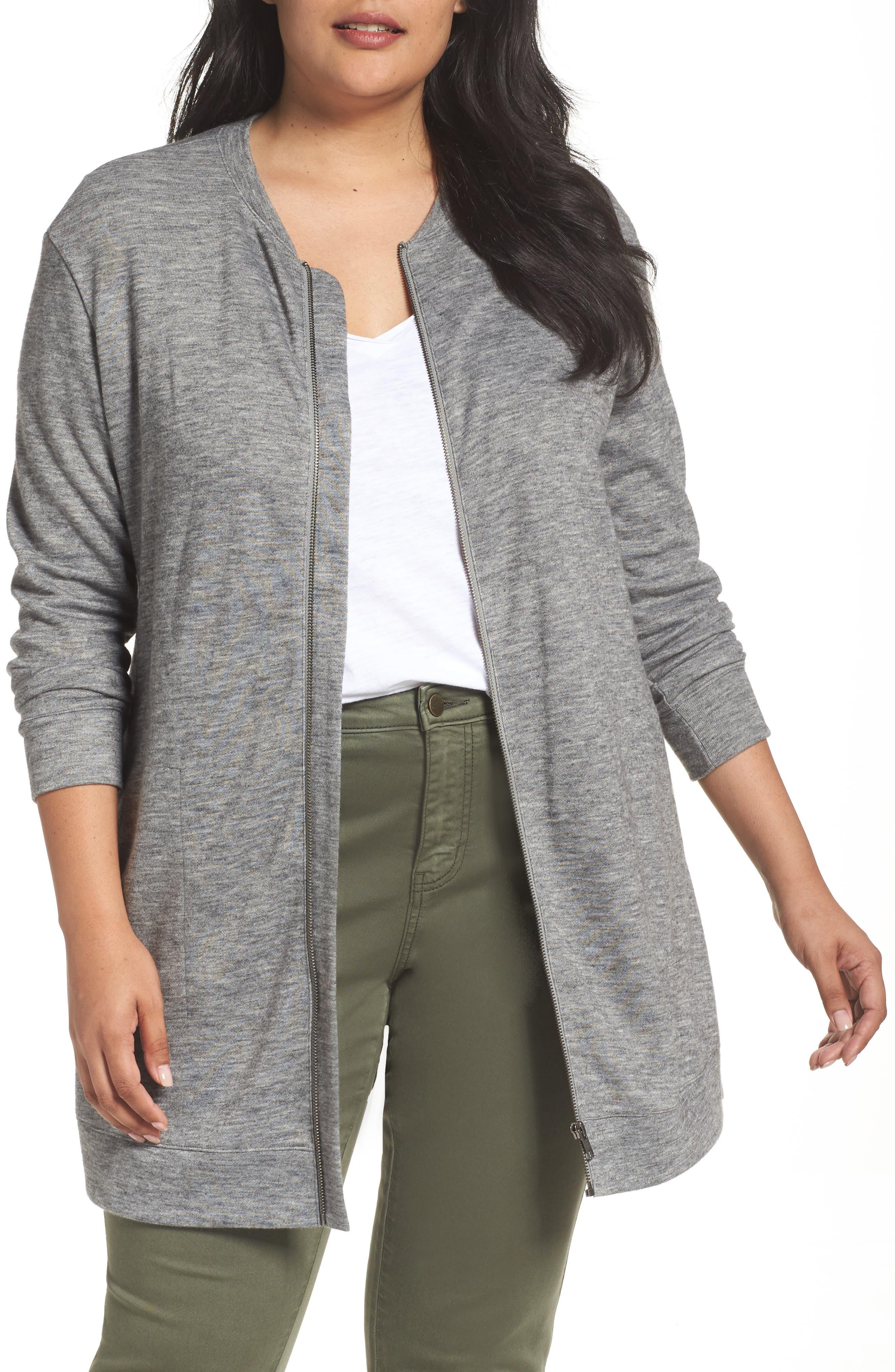 Cozy Zip Cardigan,                         Main,                         color, Grey Heather