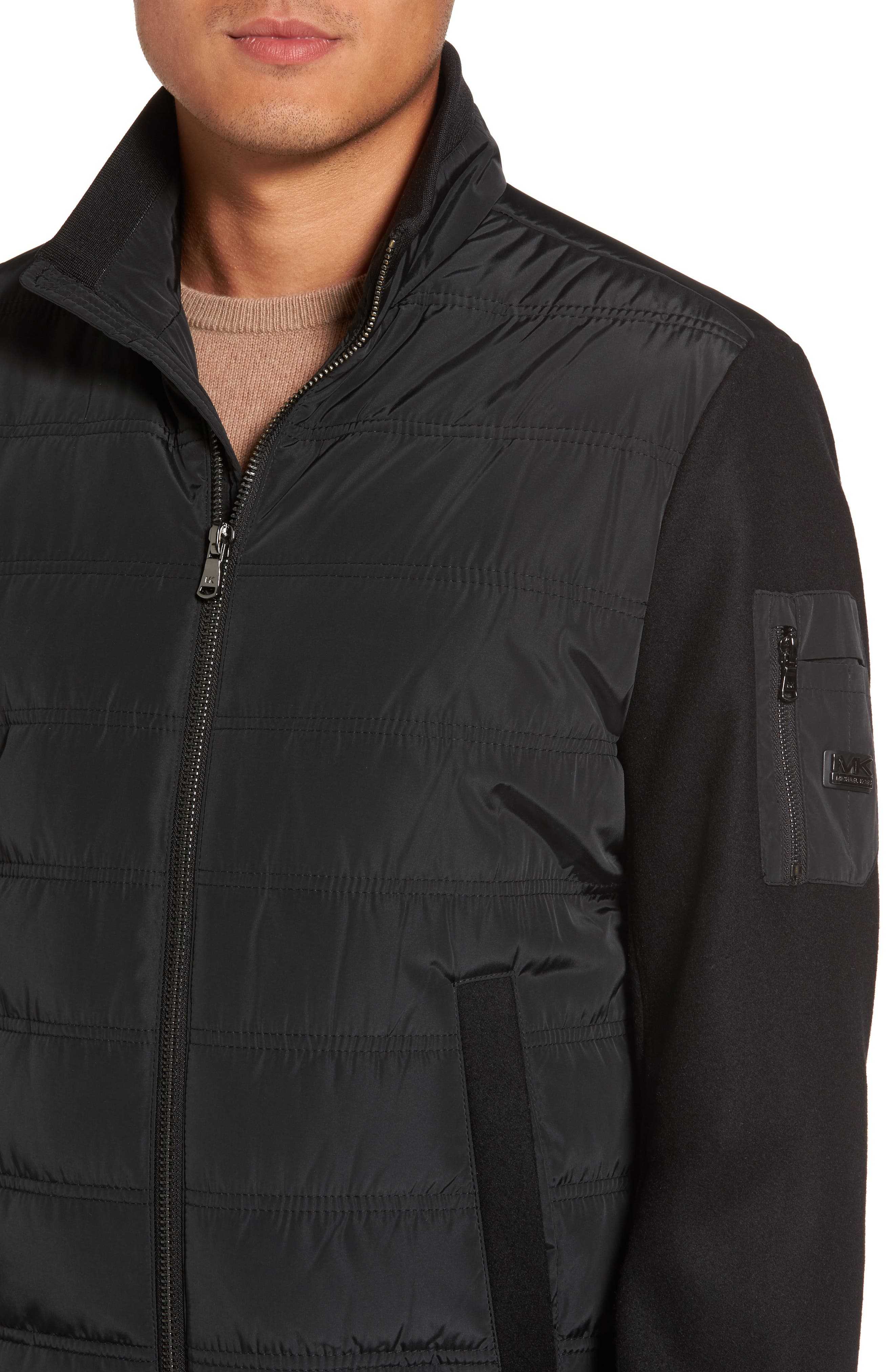Mixed Media Quilted Jacket,                             Alternate thumbnail 4, color,                             Black