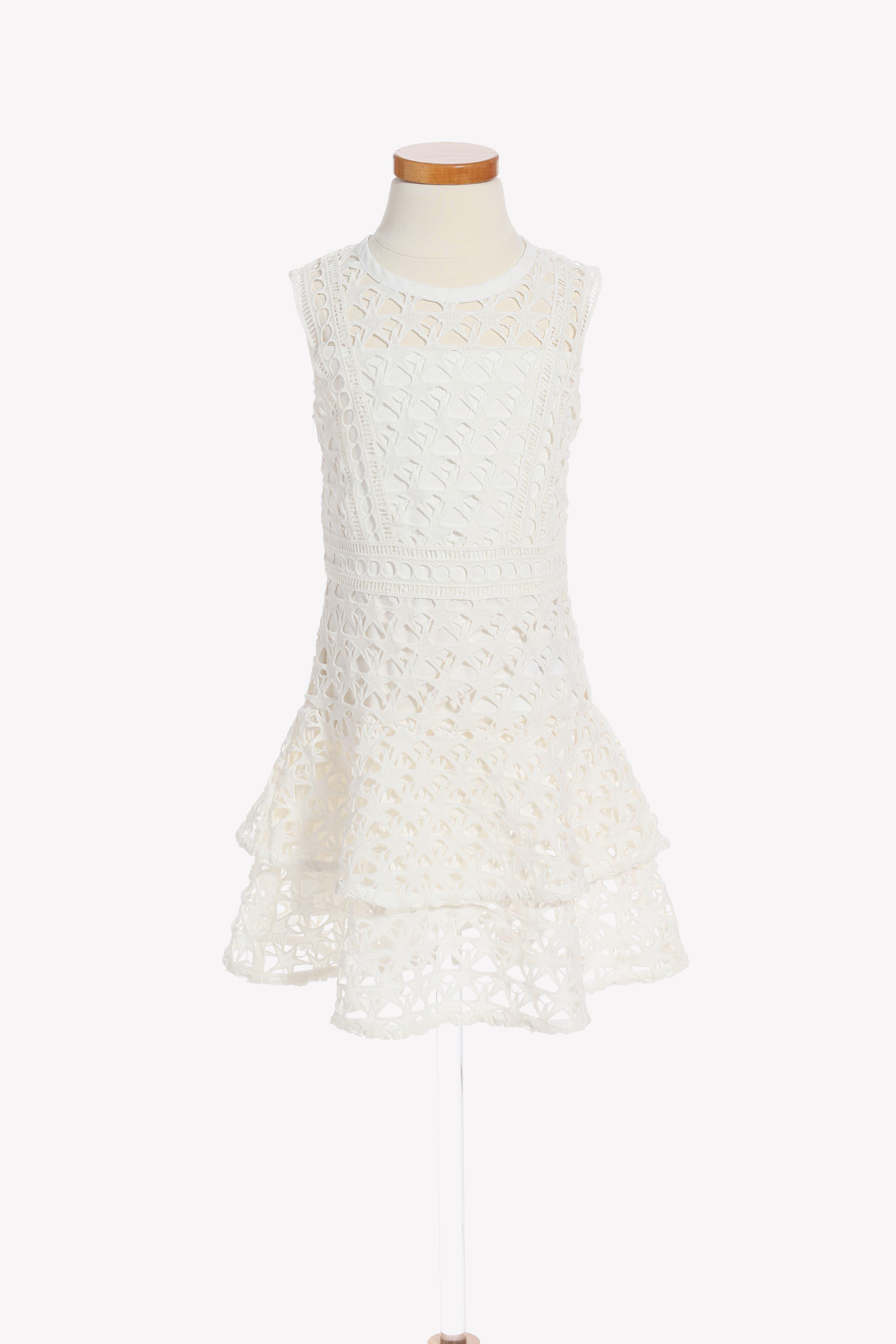 Junior Star Lace Dress,                             Main thumbnail 1, color,                             White