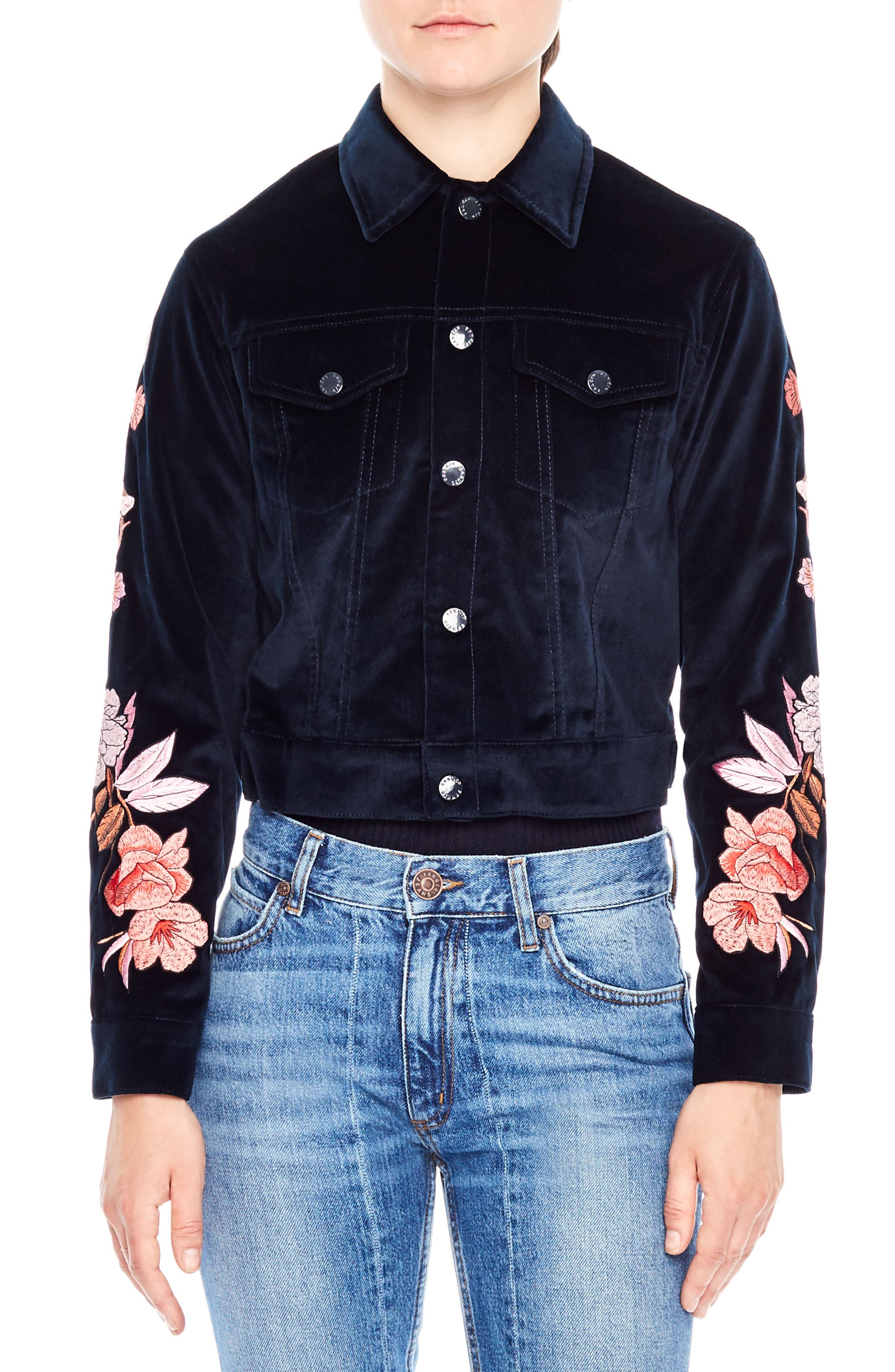 Main Image - sandro Embroidered Crop Velvet Jacket