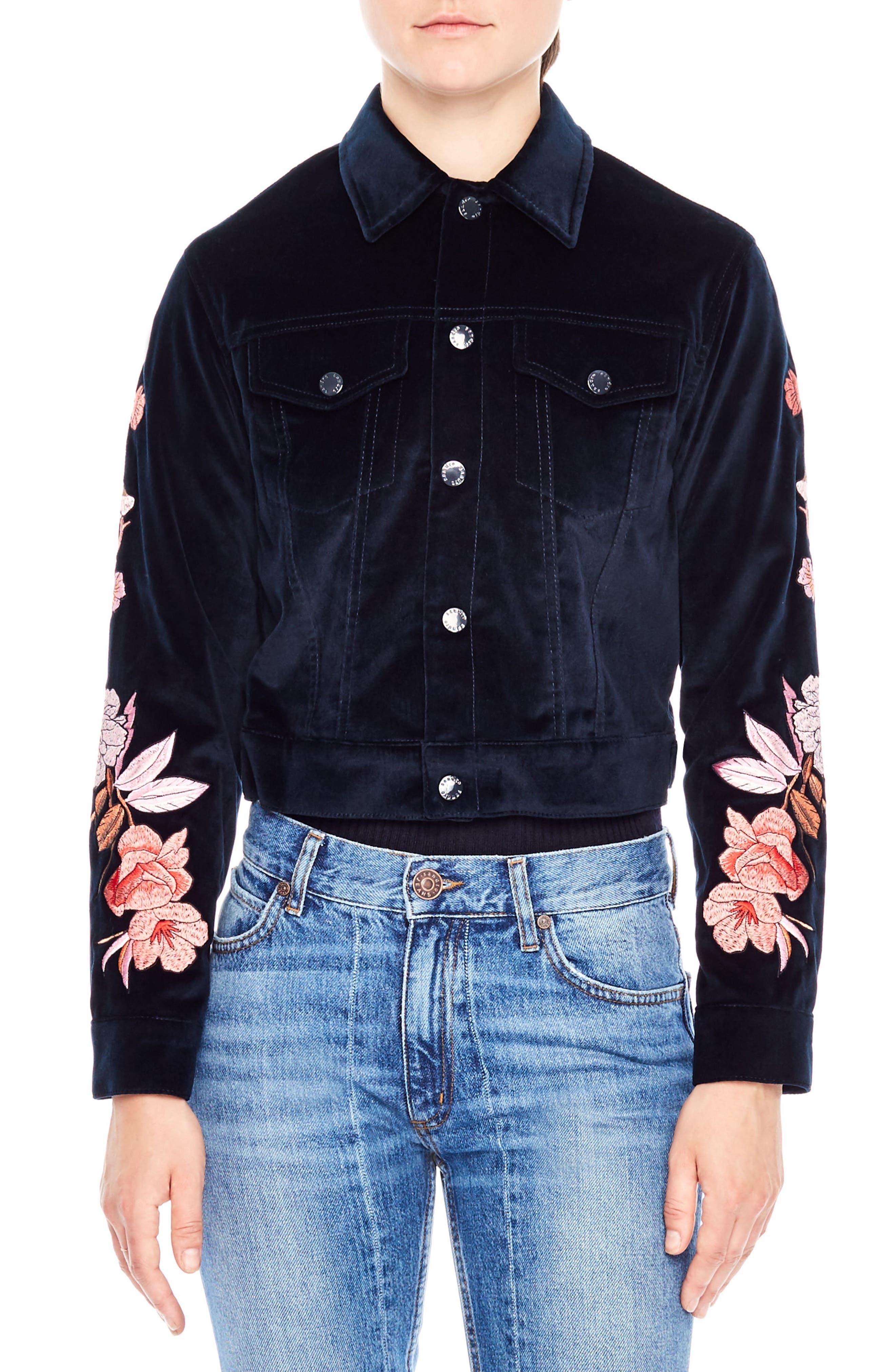 Embroidered Crop Velvet Jacket,                         Main,                         color, Navy