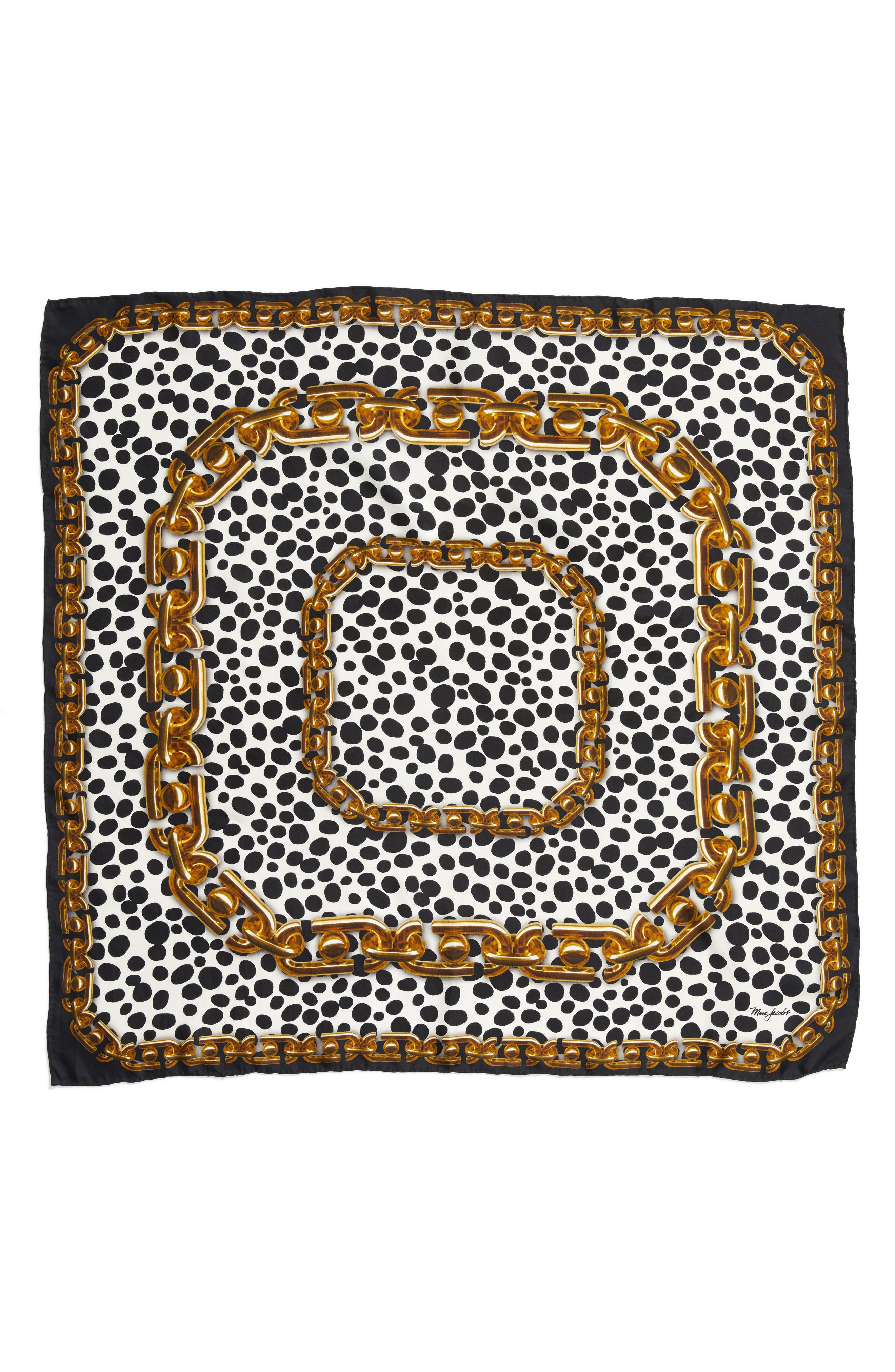 MARC JACOBS Animal & Chain Print Silk Scarf