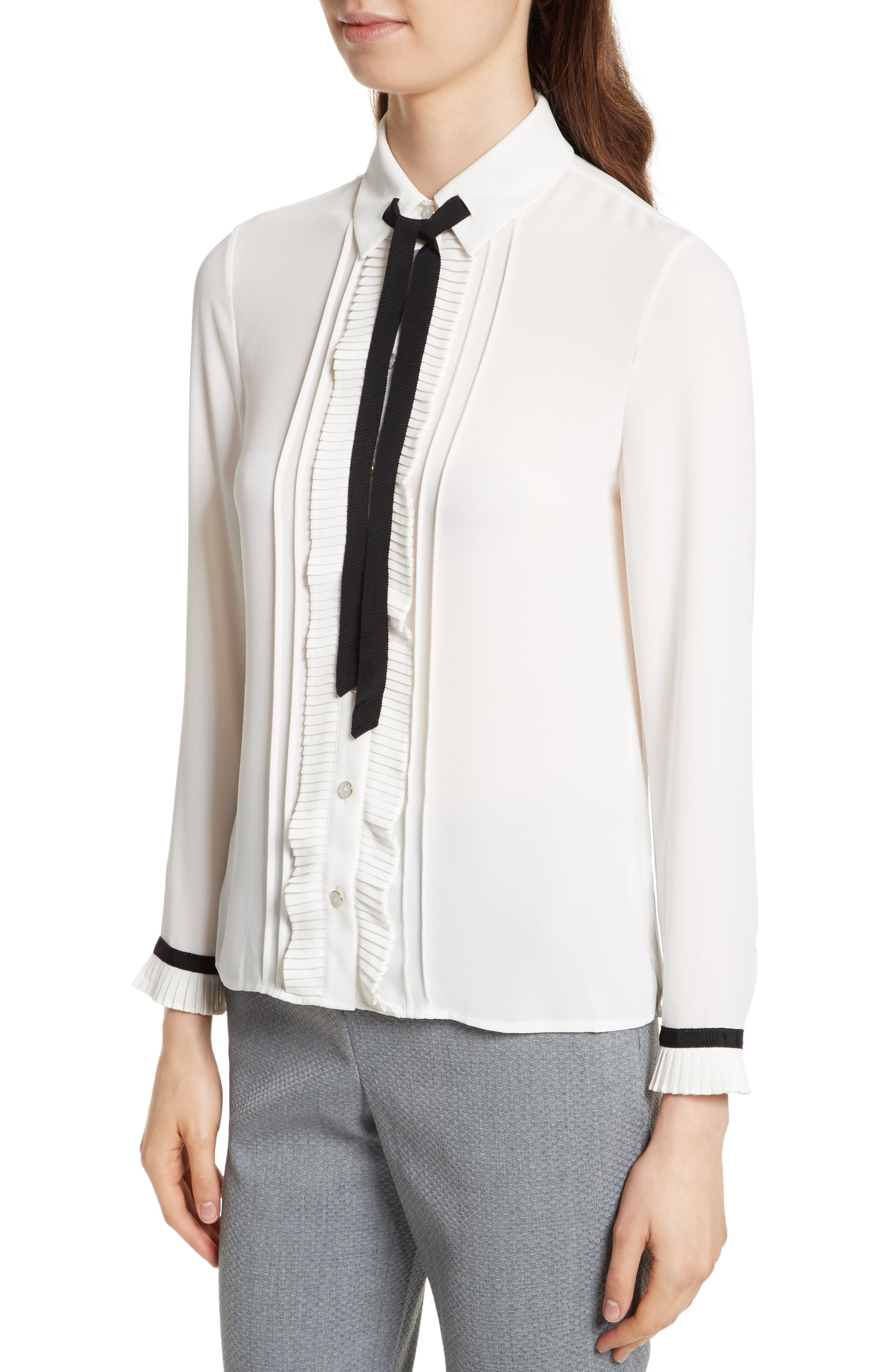 Alternate Image 5  - Ted Baker London Pleated Frill Tie Neck Shirt