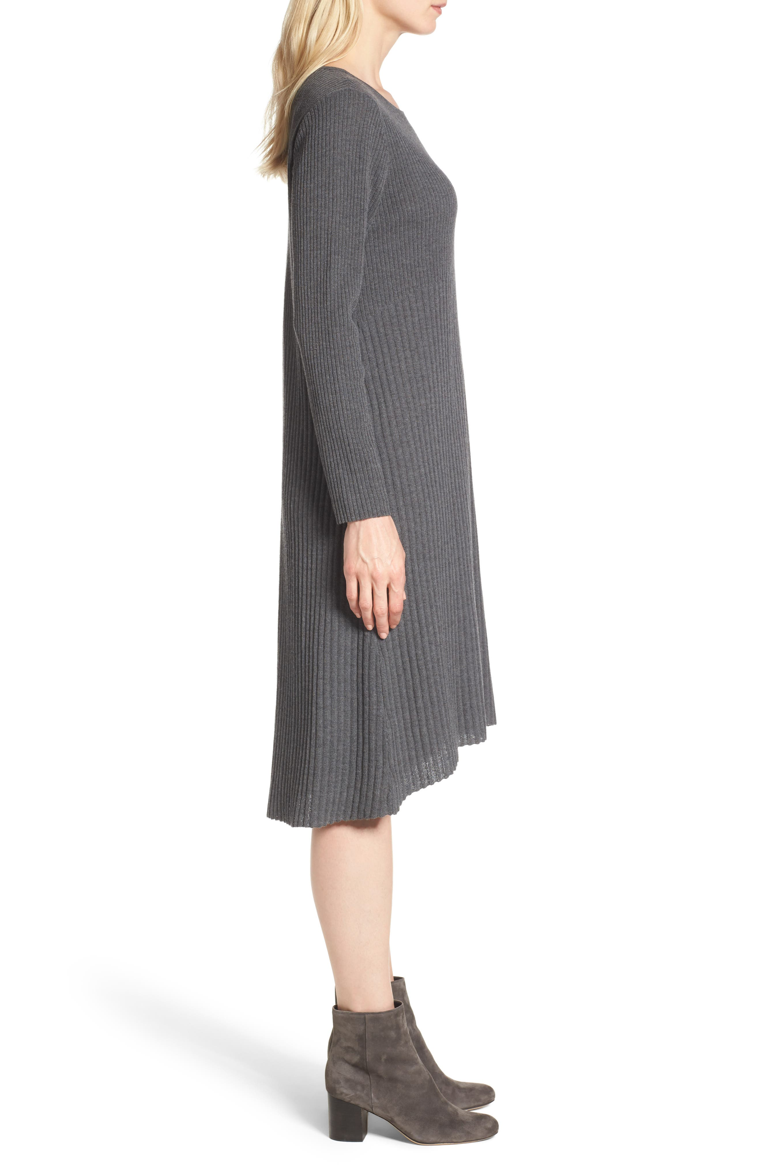 Ribbed Wool Sweater Dress,                             Alternate thumbnail 3, color,                             Bark