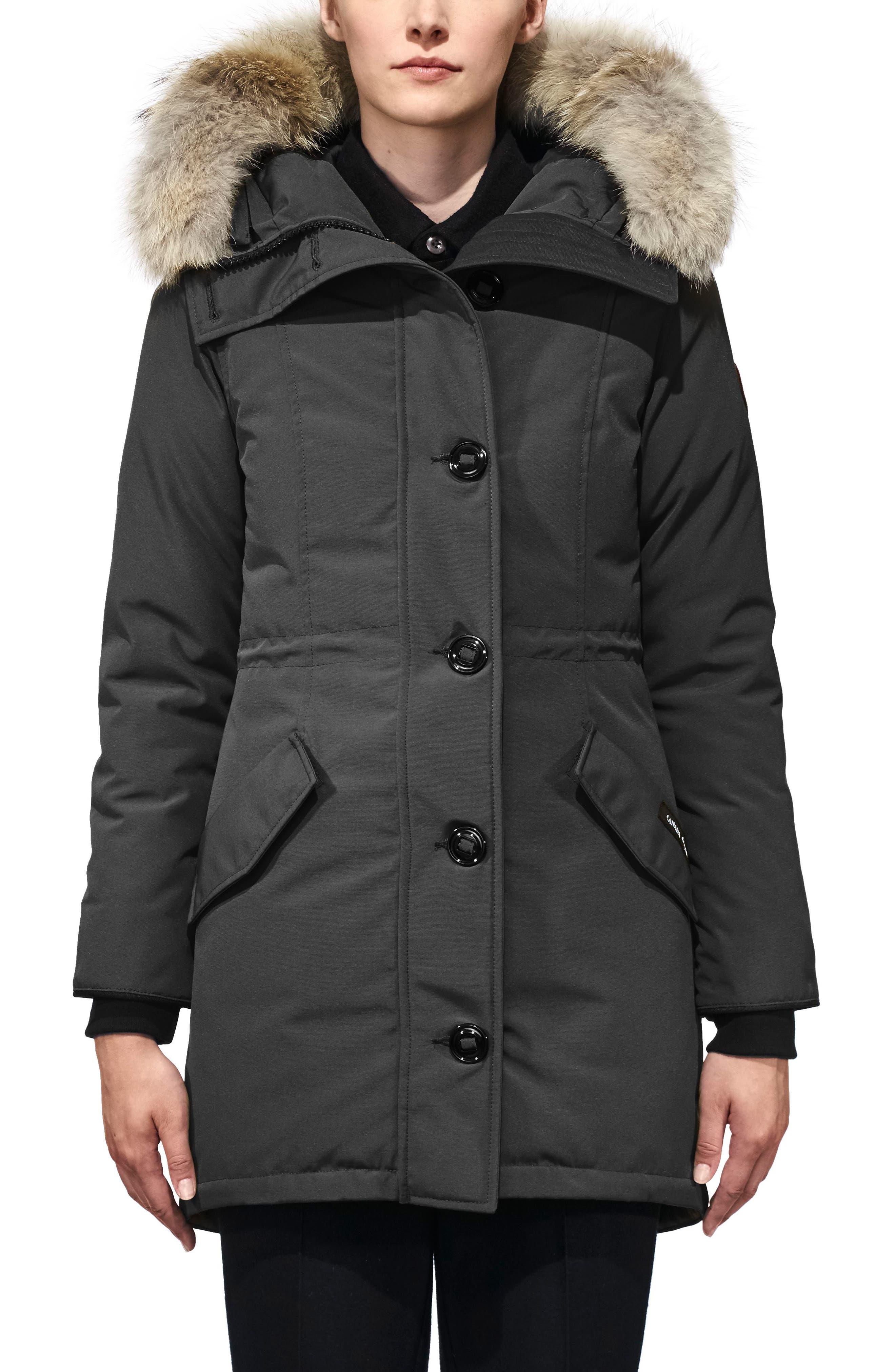 Rossclair Fusion Fit Genuine Coyote Fur Trim Down Parka,                         Main,                         color, Graphite