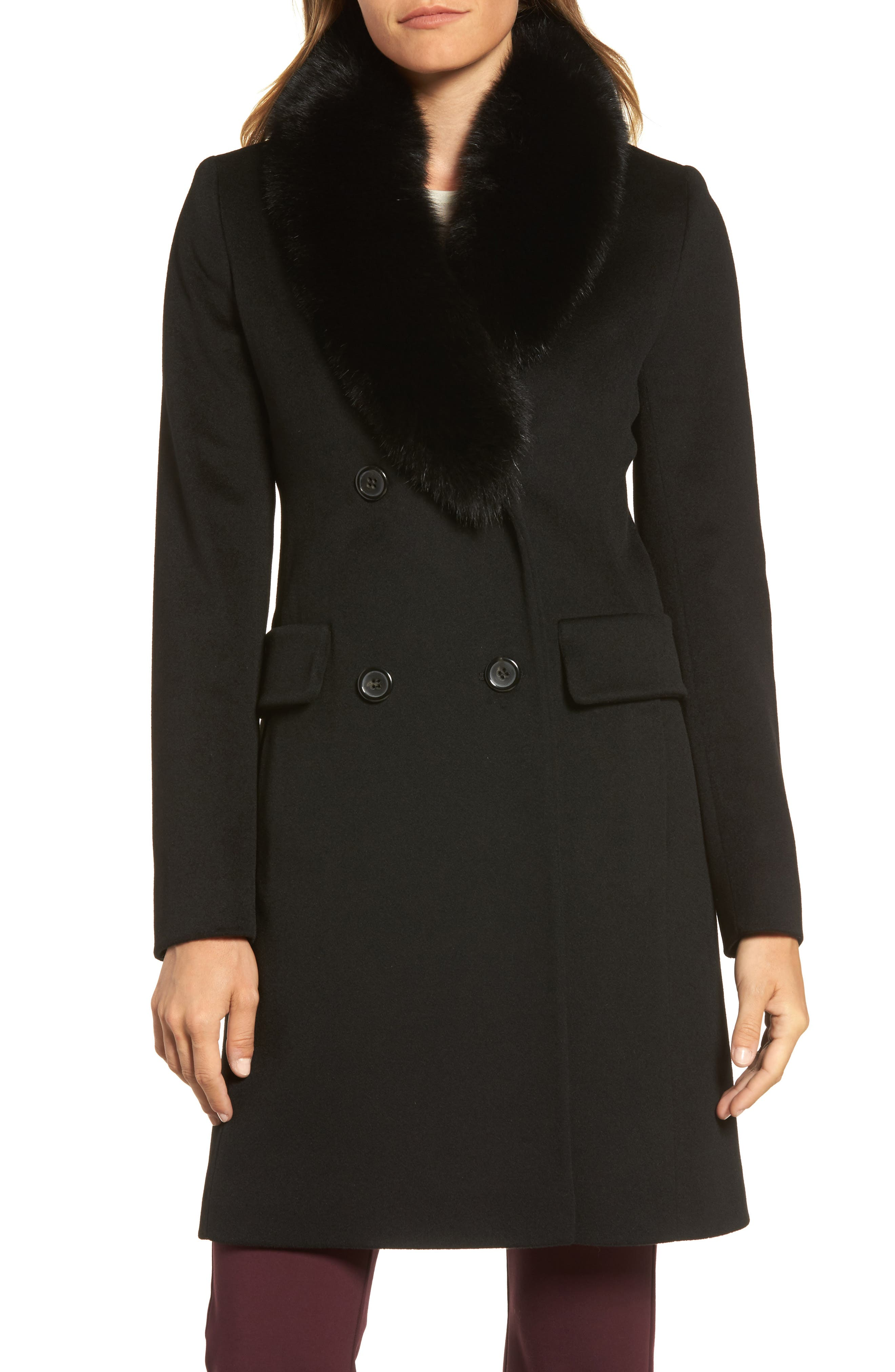 Fleurette Loro Piana Wool Coat with Genuine Fox Fur Collar