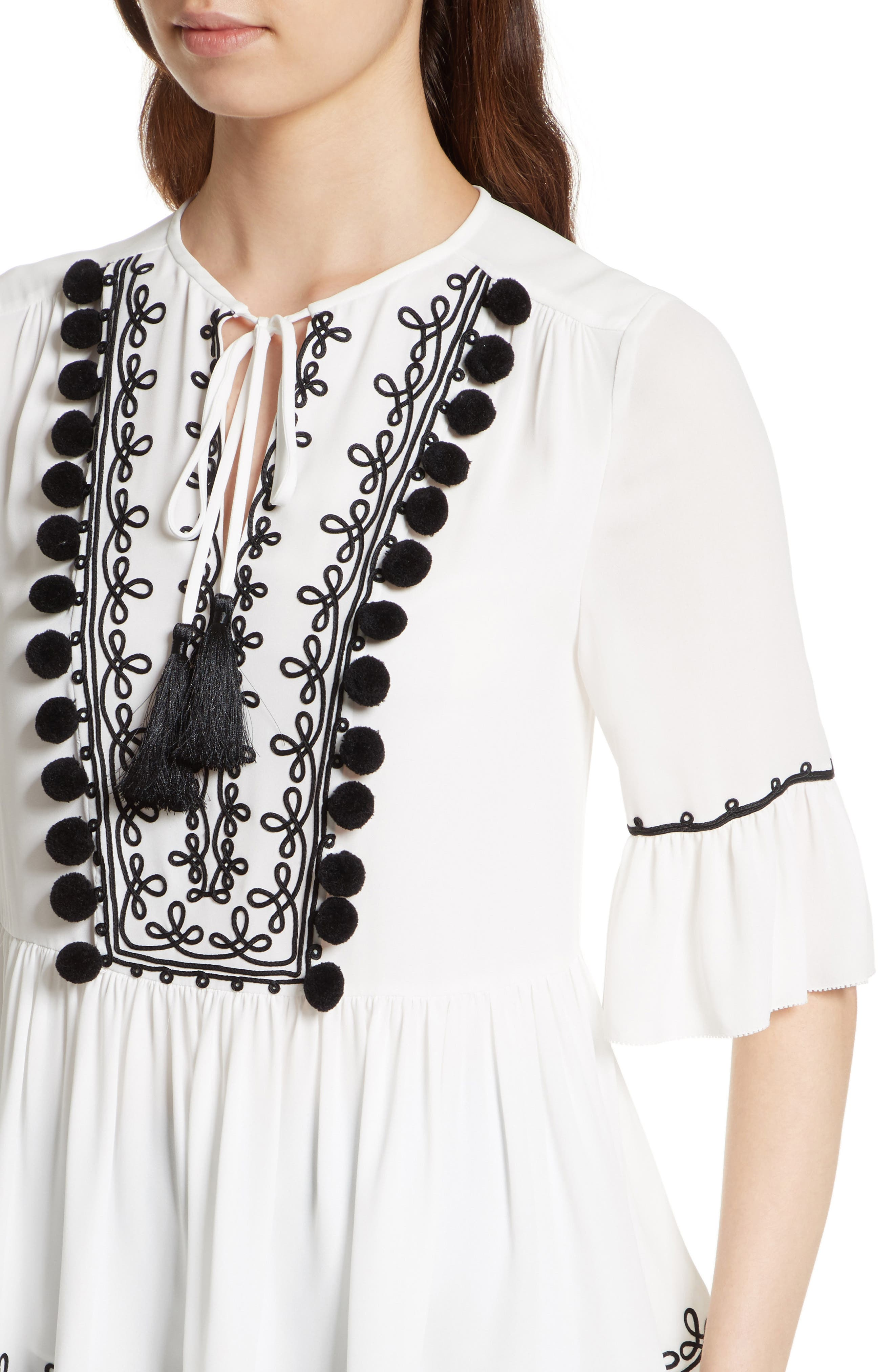 pom embroidered top,                             Alternate thumbnail 5, color,                             Cream