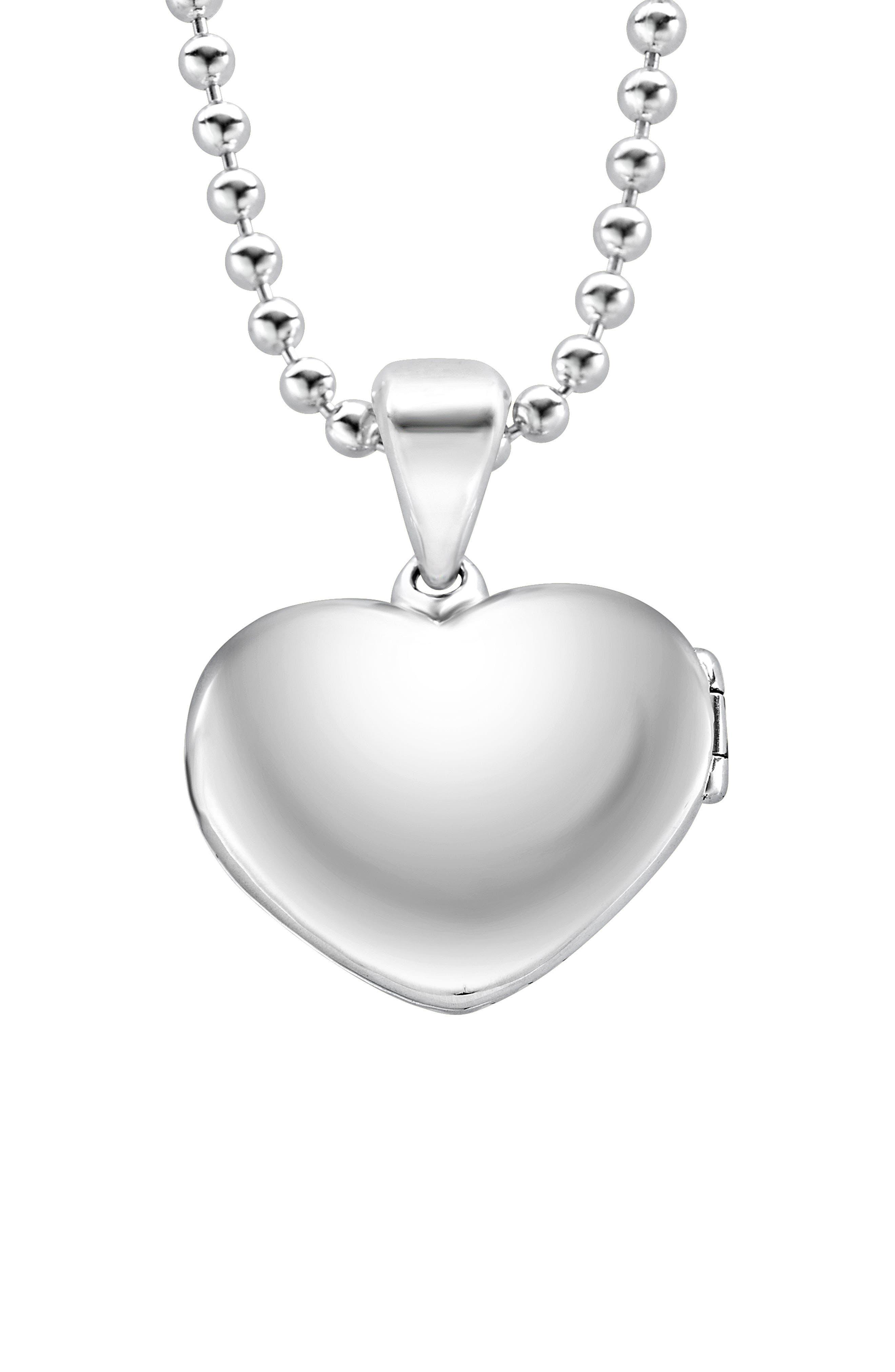 Beloved Fluted Heart Locket Necklace,                             Alternate thumbnail 3, color,                             Silver