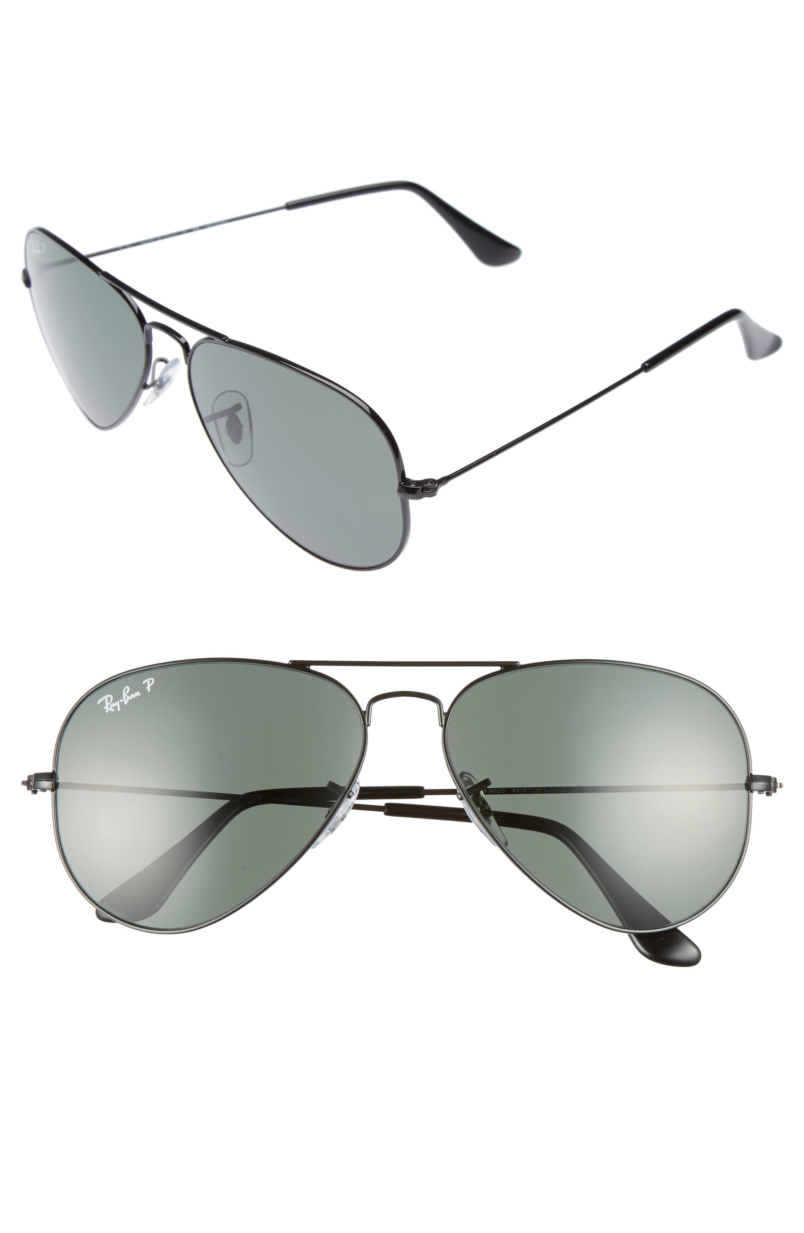 Ray-Ban Original 58mm Polarized Aviator Sunglasses