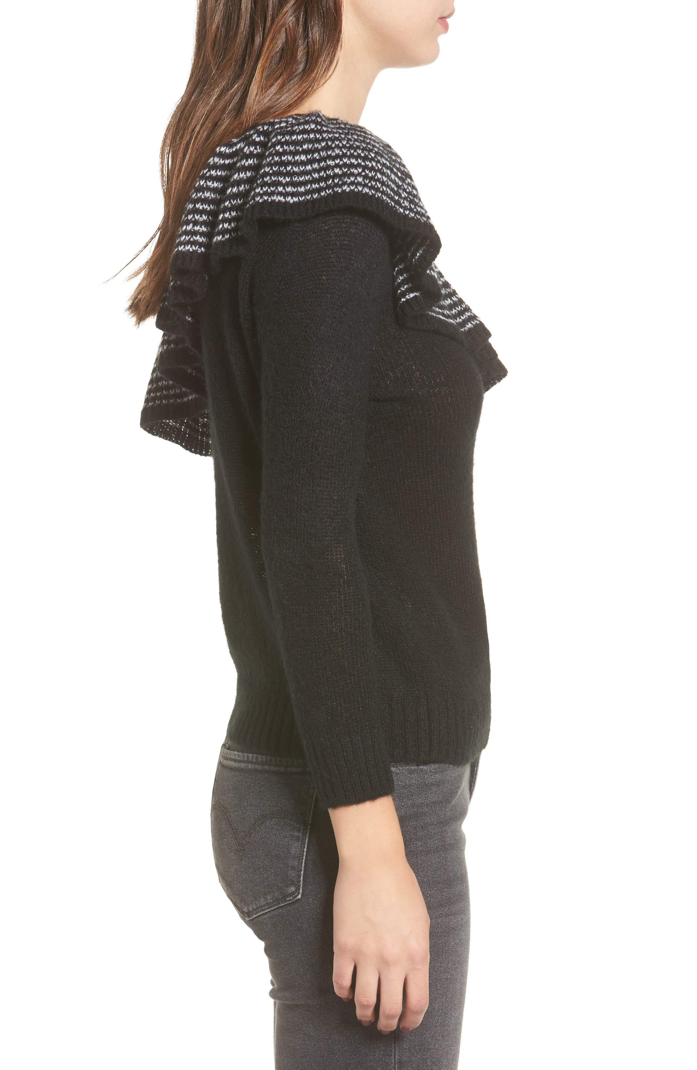 Ruffle One-Shoulder Sweater,                             Alternate thumbnail 3, color,                             Black