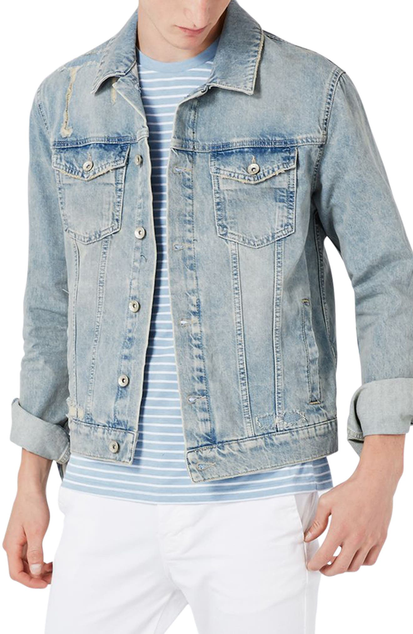 Alternate Image 1 Selected - Topman Distressed Denim Western Jacket