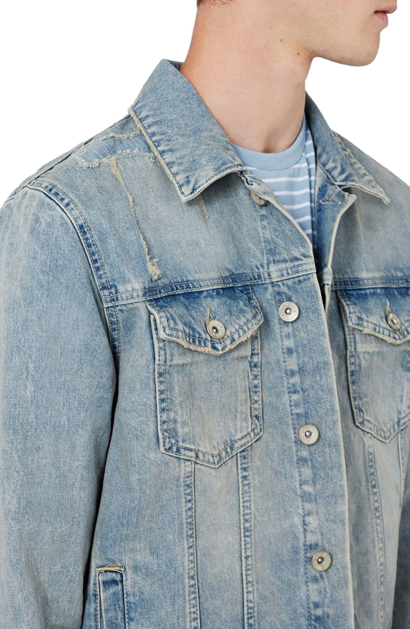 Alternate Image 3  - Topman Distressed Denim Western Jacket