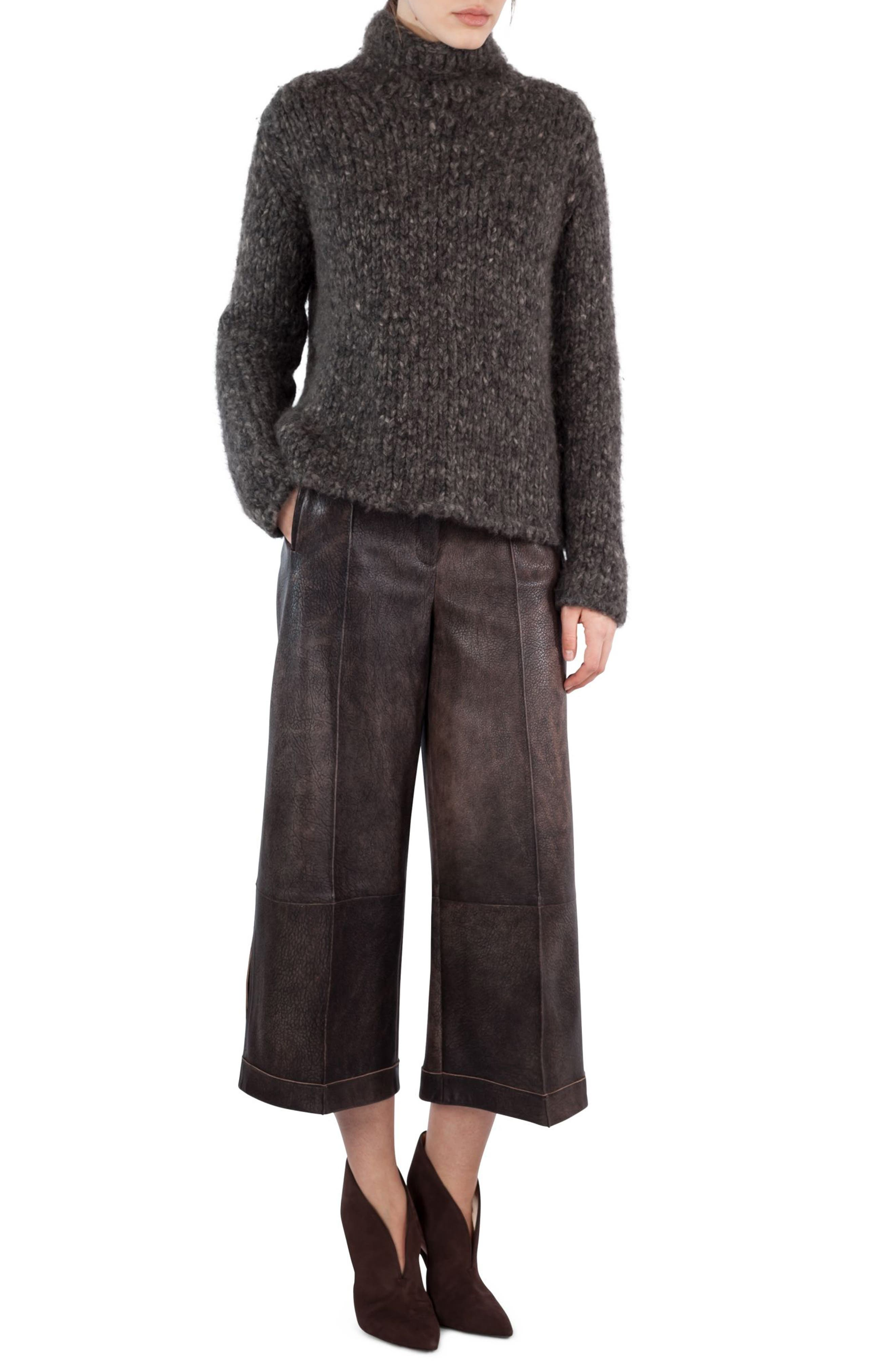 Antiqued Nappa Leather Culottes,                         Main,                         color, Sepia