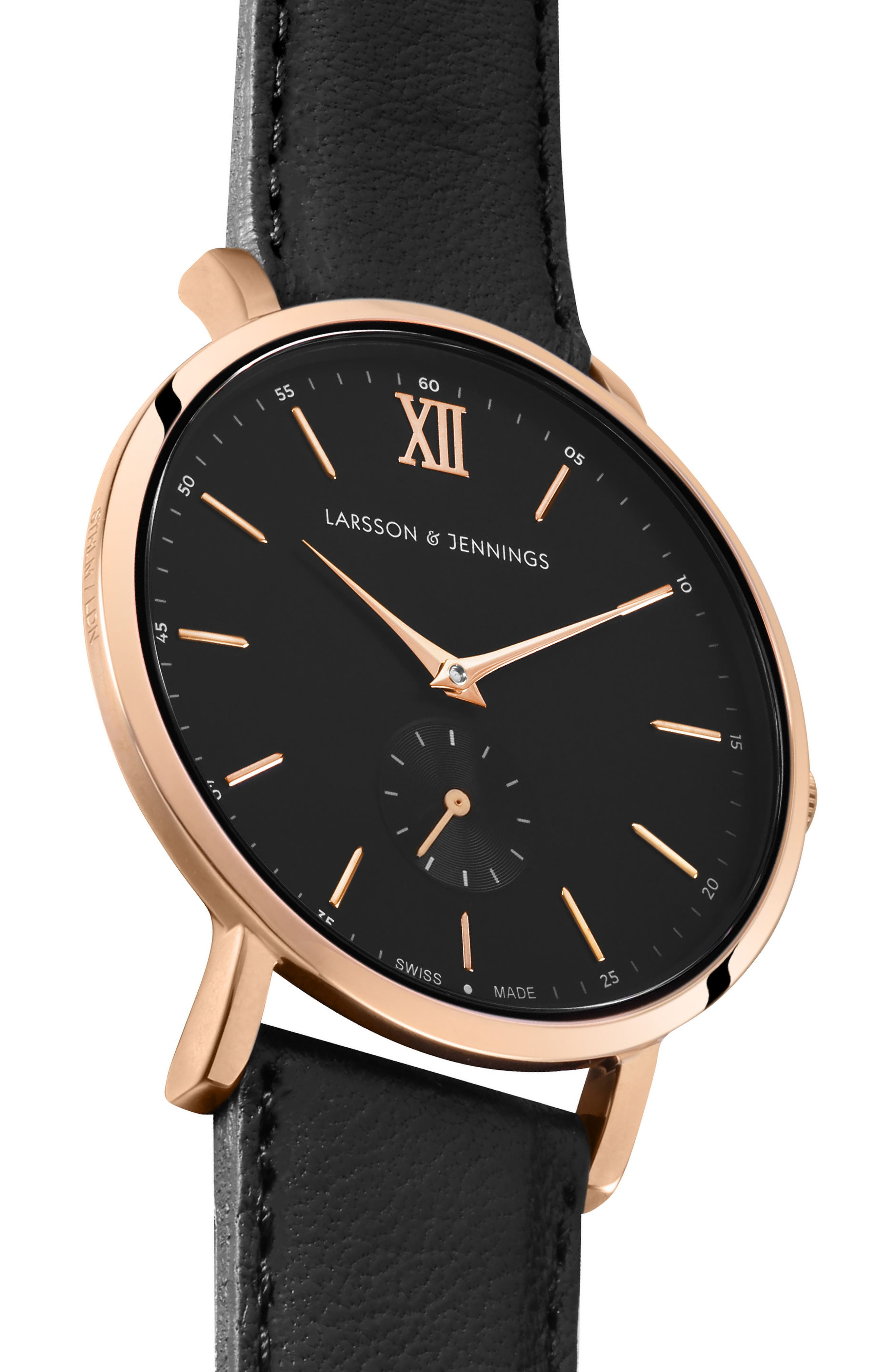 Lugano Leather Strap Watch, 38mm,                             Alternate thumbnail 3, color,                             Black/ Rose Gold