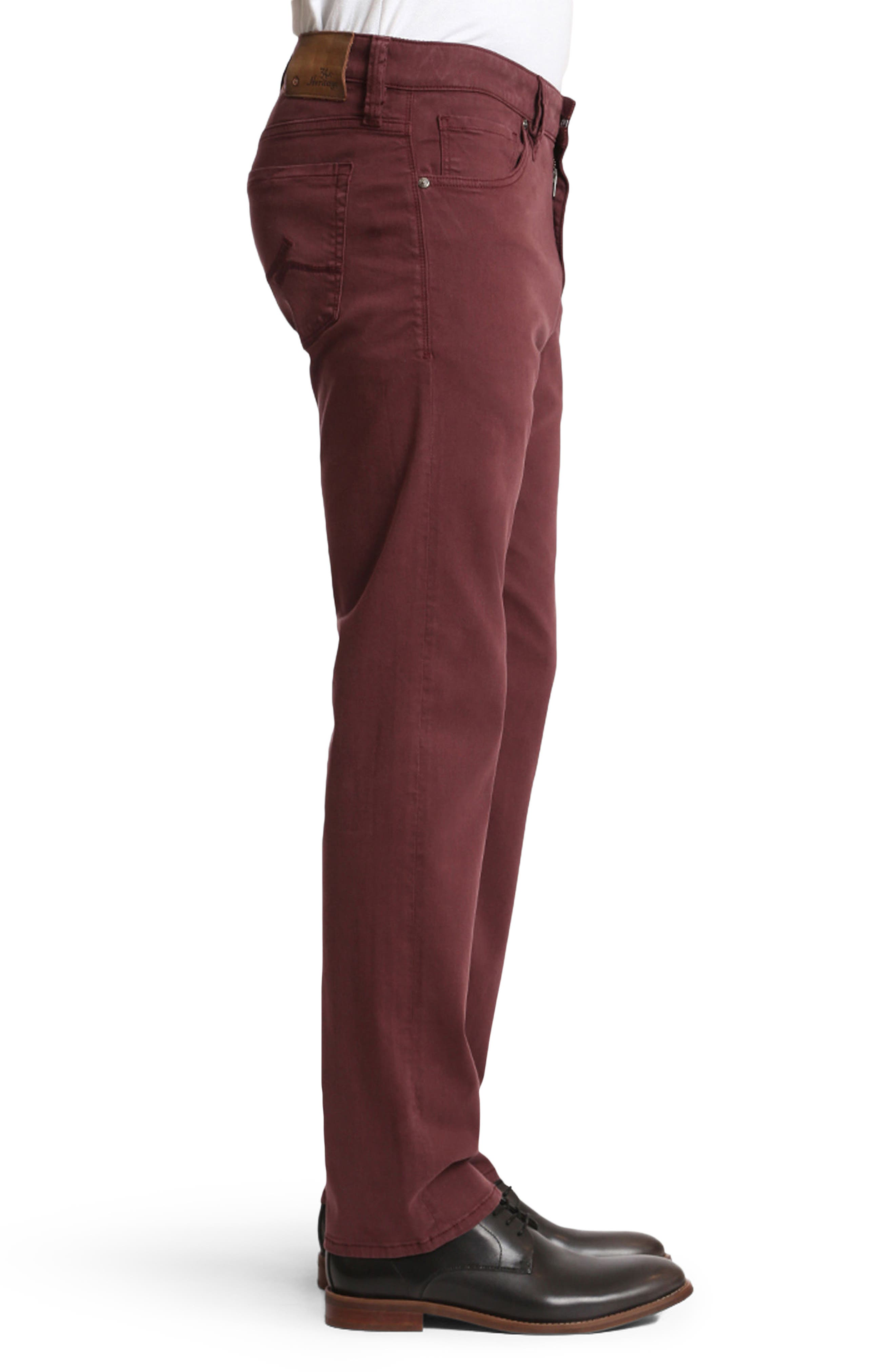 Courage Straight Leg Twill Pants,                             Alternate thumbnail 3, color,                             Bordeaux Twill