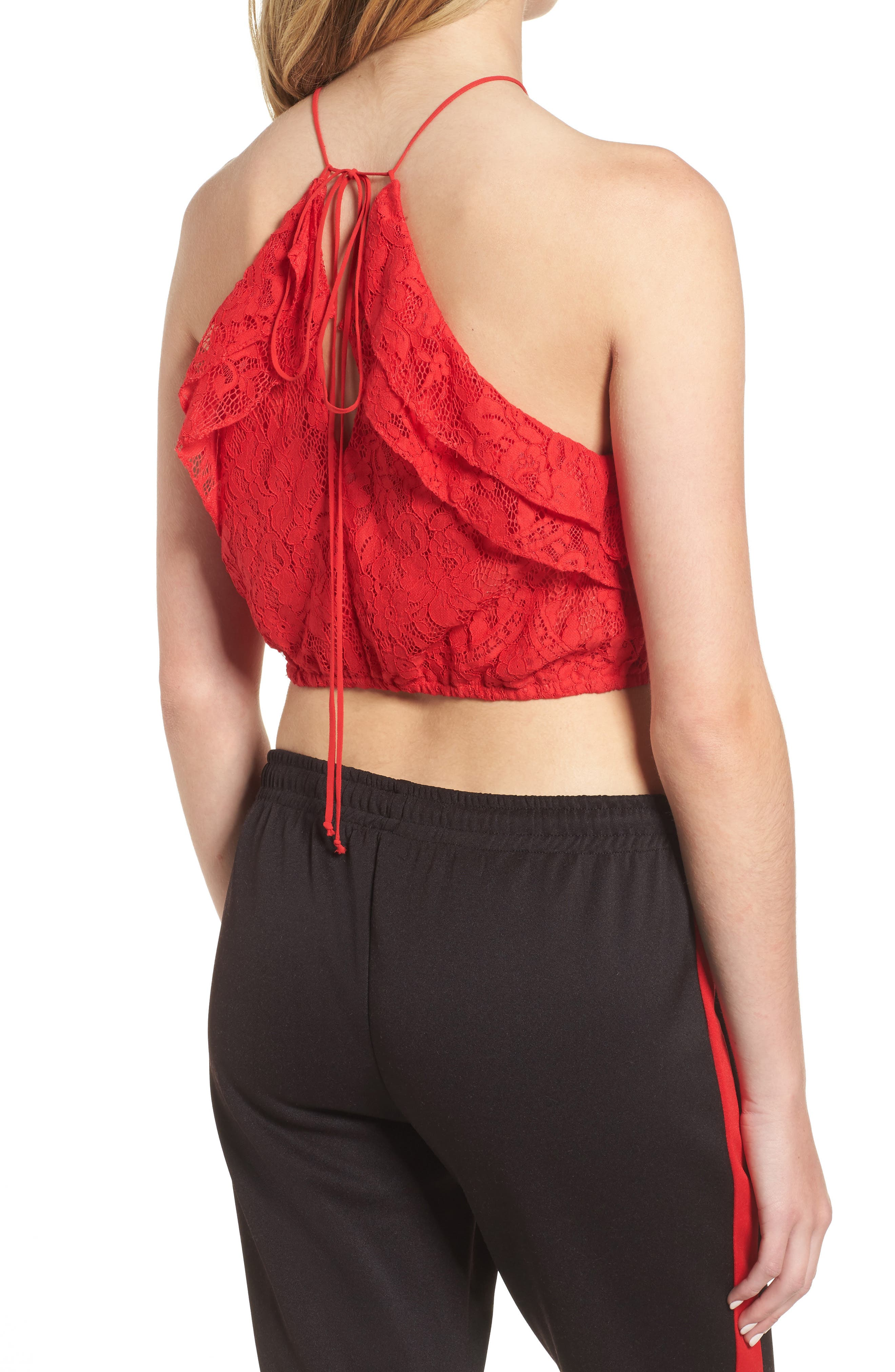 Goldie Lace Halter Top,                             Alternate thumbnail 2, color,                             Red