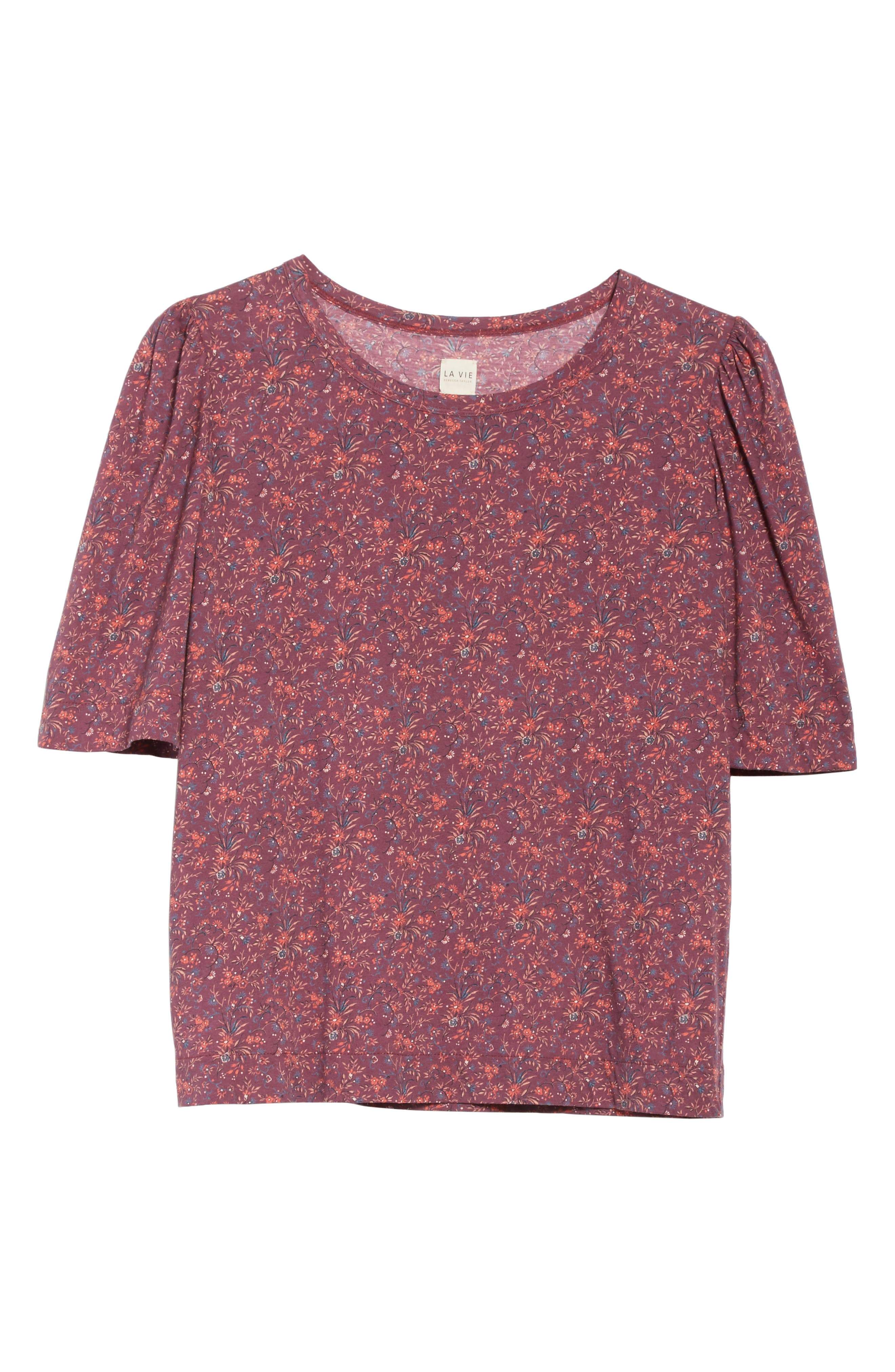 Rebecca Taylor Brittany Floral Jersey Top,                             Alternate thumbnail 6, color,                             Plum Combo